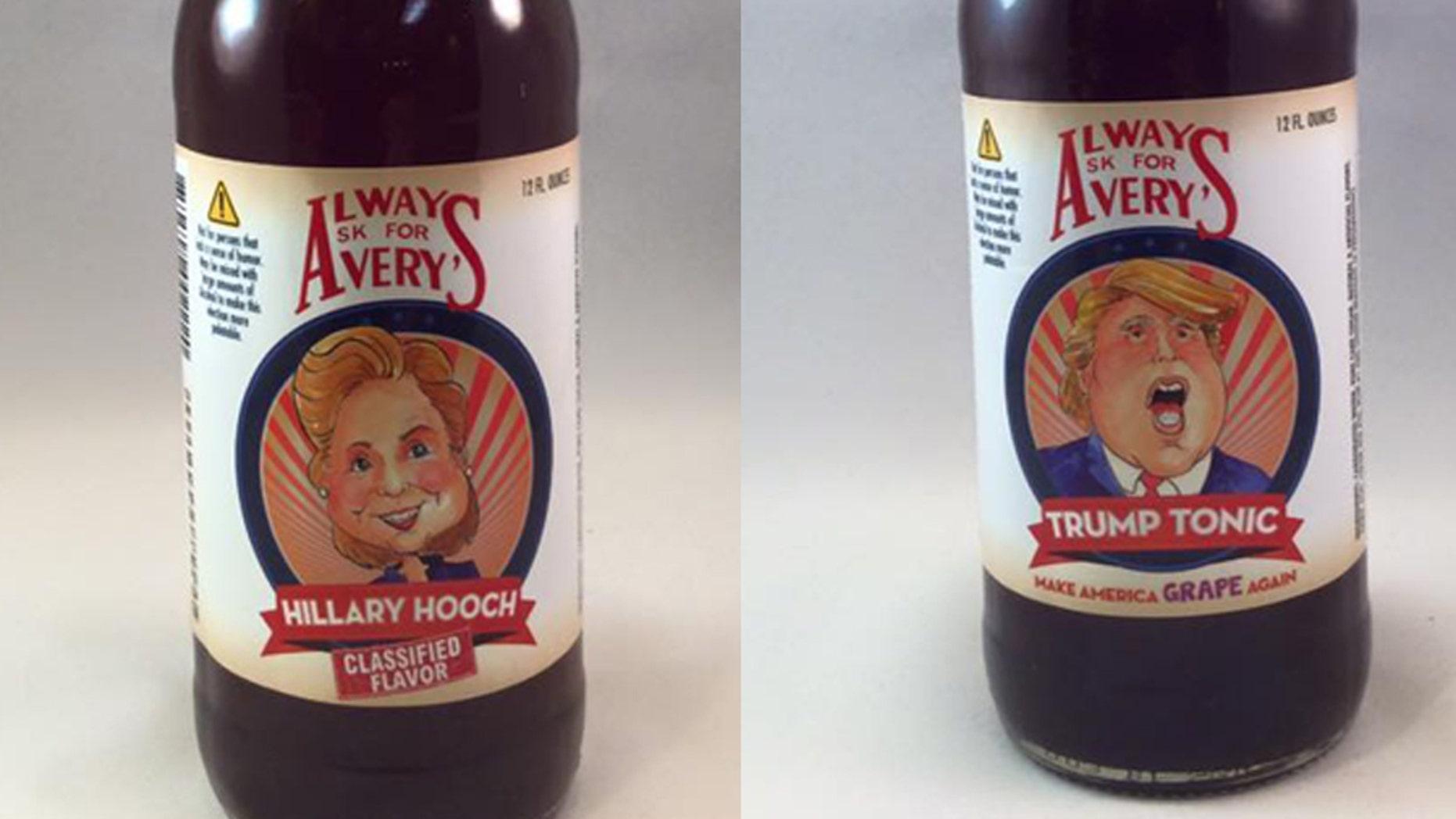 Hillary Hooch is a raspberry, lemon soda while Trump Tonic is a super sour grape.