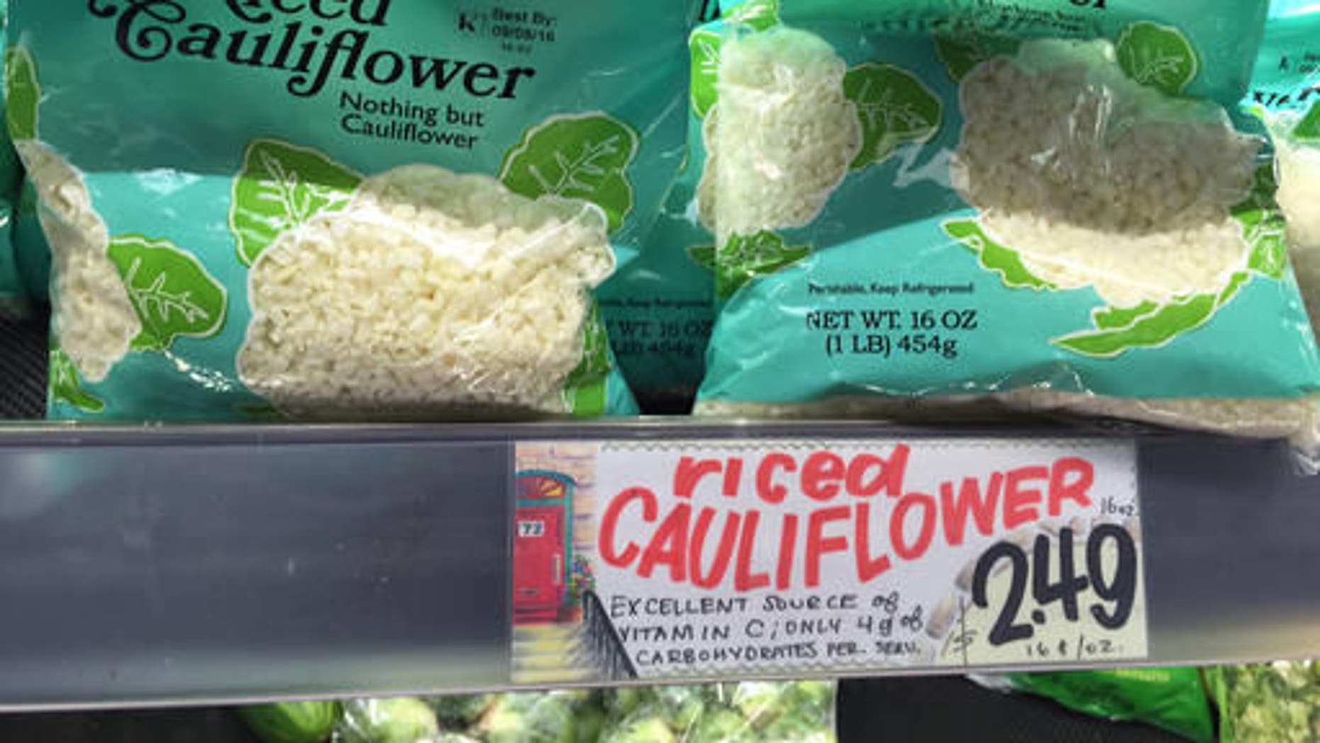 """""""Riced Cauliflower"""" for sale at a Trader Joe's in New York. Using cauliflower instead of rice or potatoes has become popular among low-carb and paleo diet devotees. Trader Joe's began selling frozen """"Riced Cauliflower"""" last year and a fresh version this year"""