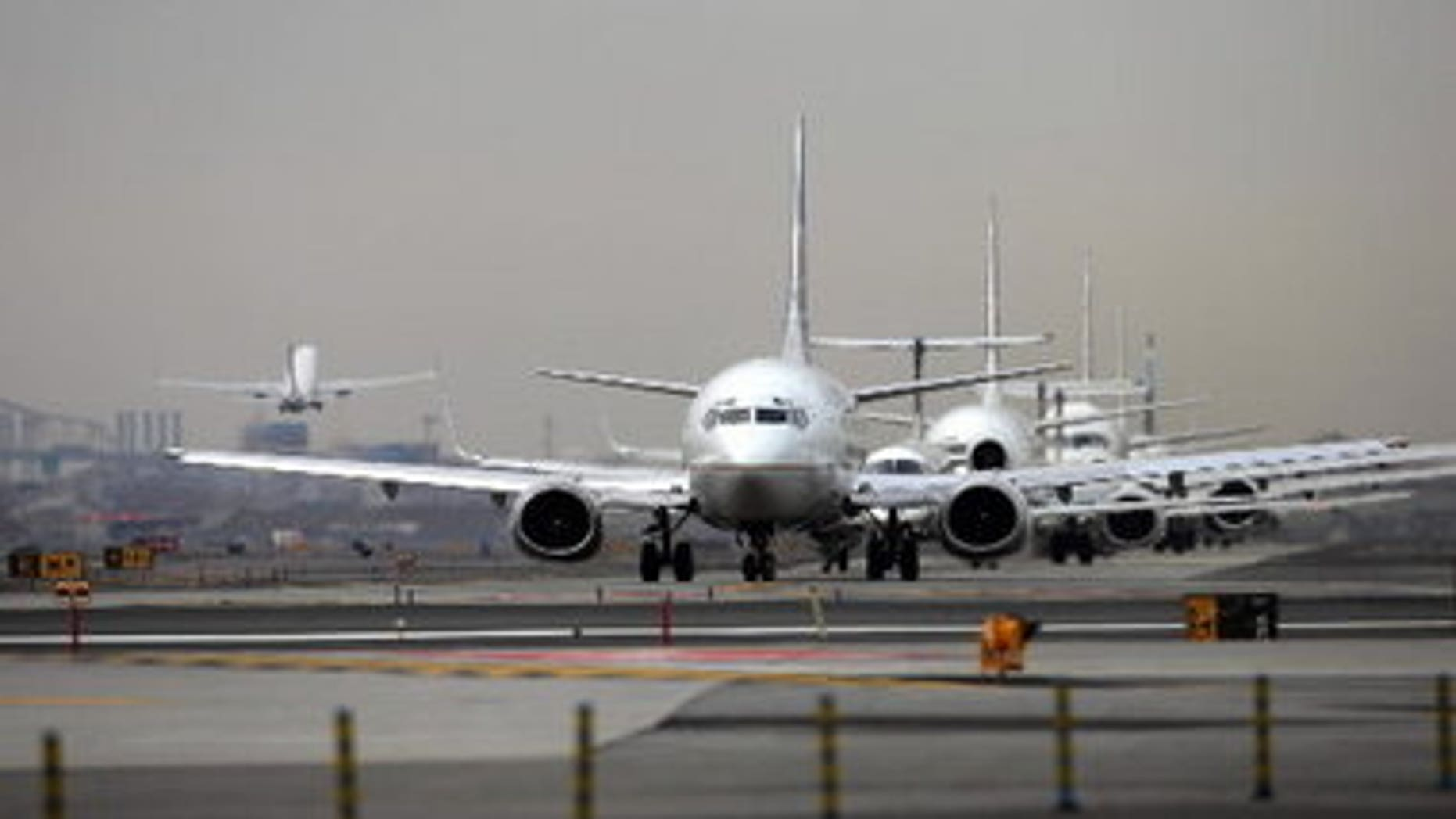 Planes wait to depart from Newark Liberty International Airport in New Jersey, one of the country's busiest airports.