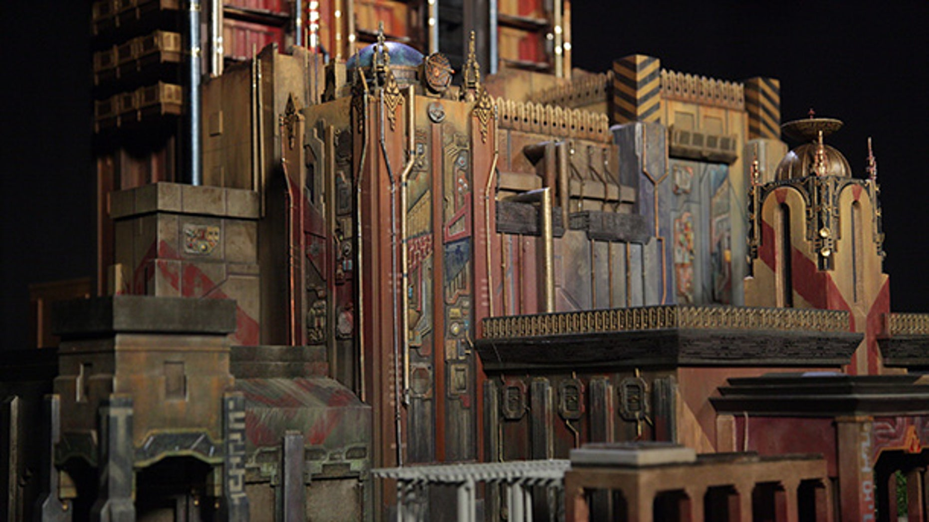 "A 3-D model of the new fortress exterior of Disney's ""Guardians of the Galaxy"" attraction."