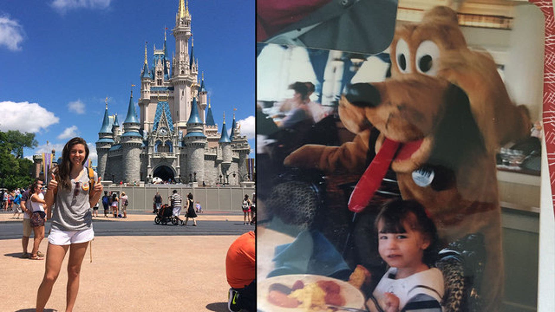 Chelsea Herline poses in front of Cinderella's Castle at Walt Disney World in April (left) and as a four-year-old with Pluto in 1994.
