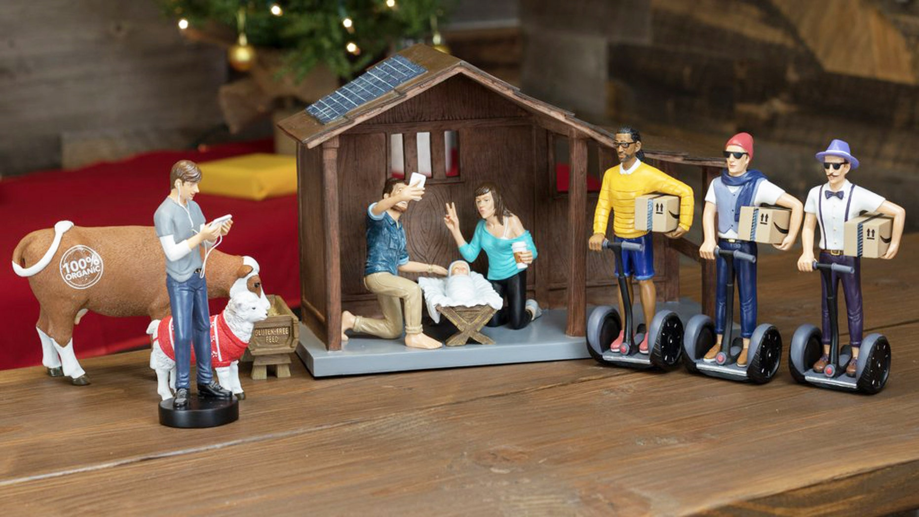 This nativity set is a modern take on the traditional manger scene.