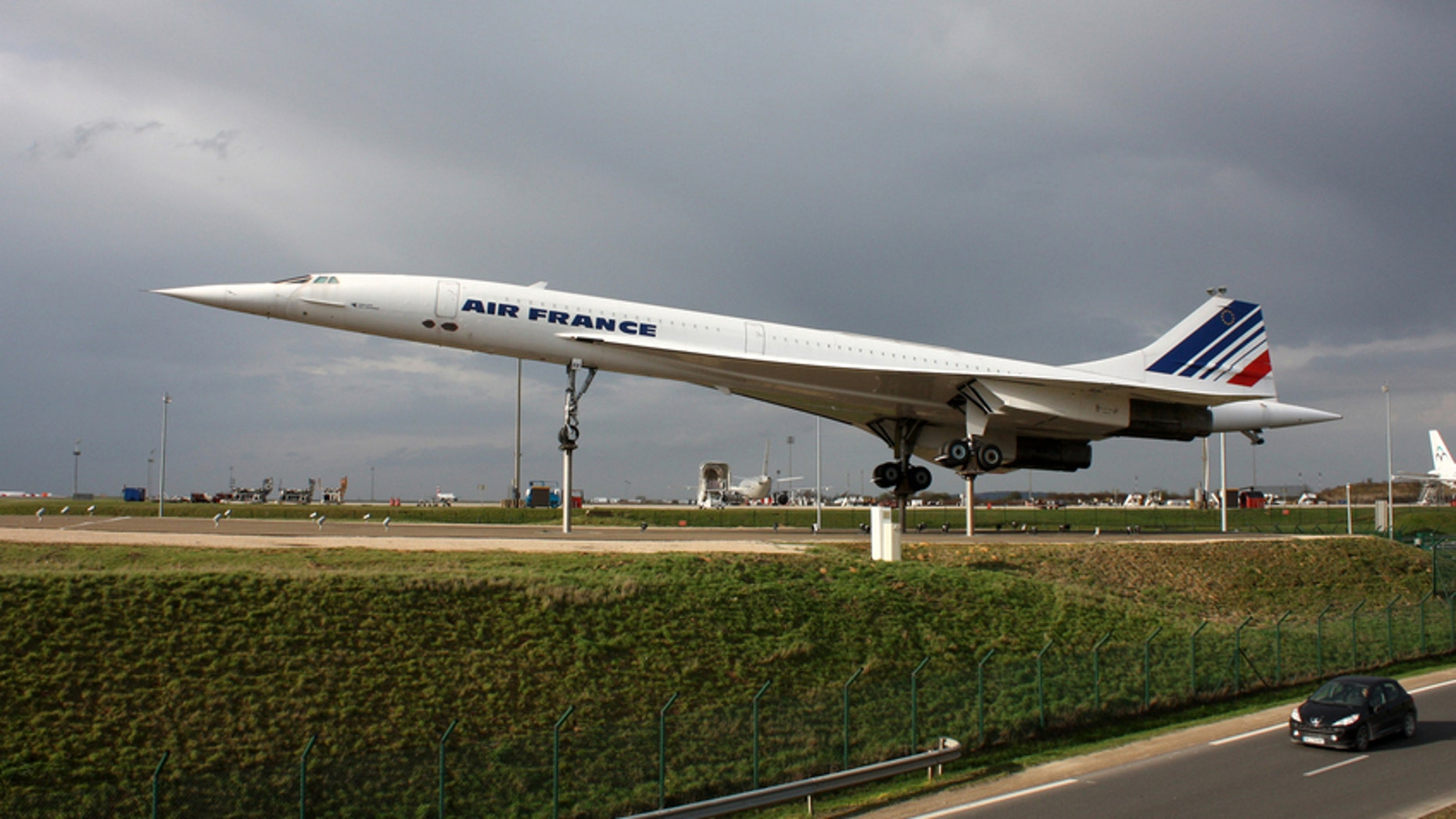 A Concorde supersonic passenger airliner with 144 seats formerly on display as a tourist attraction at Paris' Charles de Gaulle.