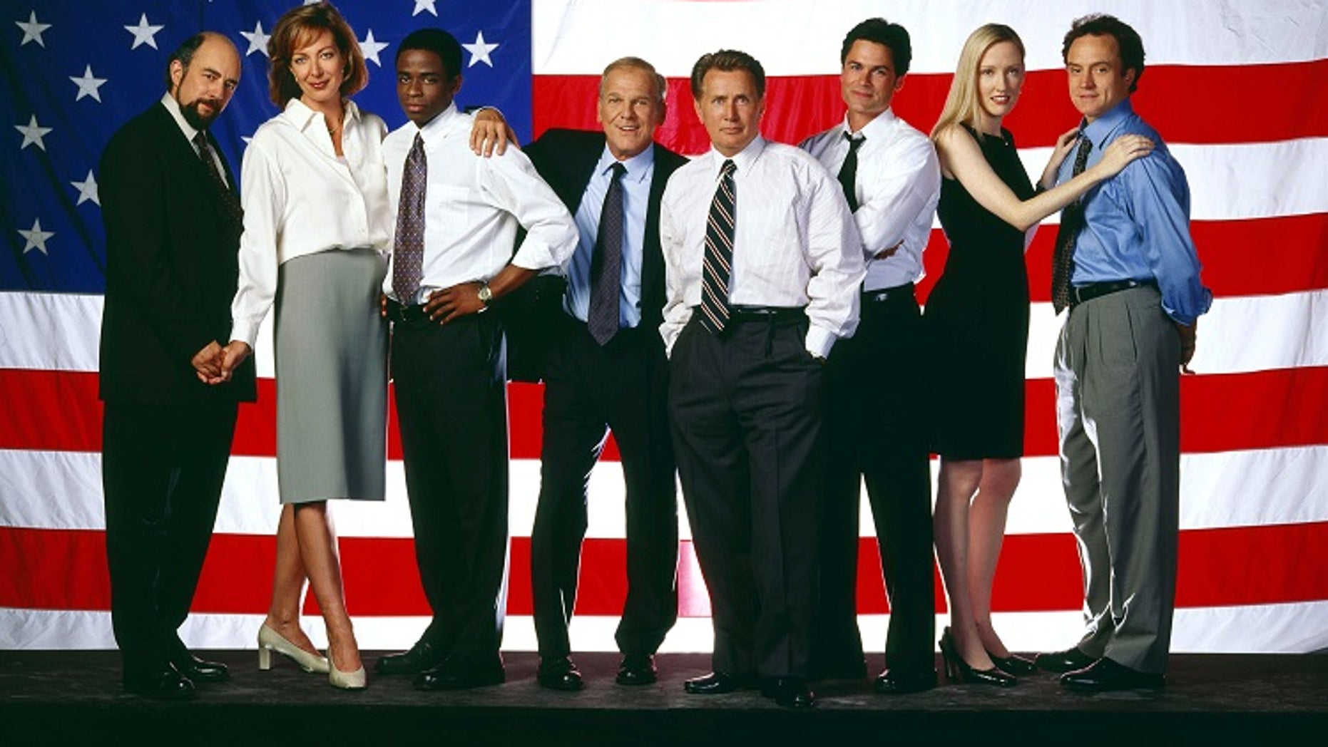"The NBC television series ""The West Wing"" received an Emmy nomination for Best Drama Series, and received the second most nominations for any series, 18, as nominations were announced in Los Angeles July 12, 2001. Cast members shown (L-R) are Richard Schiff, Allison Janney, Dule Hill, John Spencer, Martin Sheen, Rob Lowe, Janel Moloney and Brad Whitford. The Emmy Awards will be presented in Los Angeles September 16. In addition, both Sheen and Lowe received nominations as Best Lead Actor in a Drama Series for their roles. - RTXKMN2"