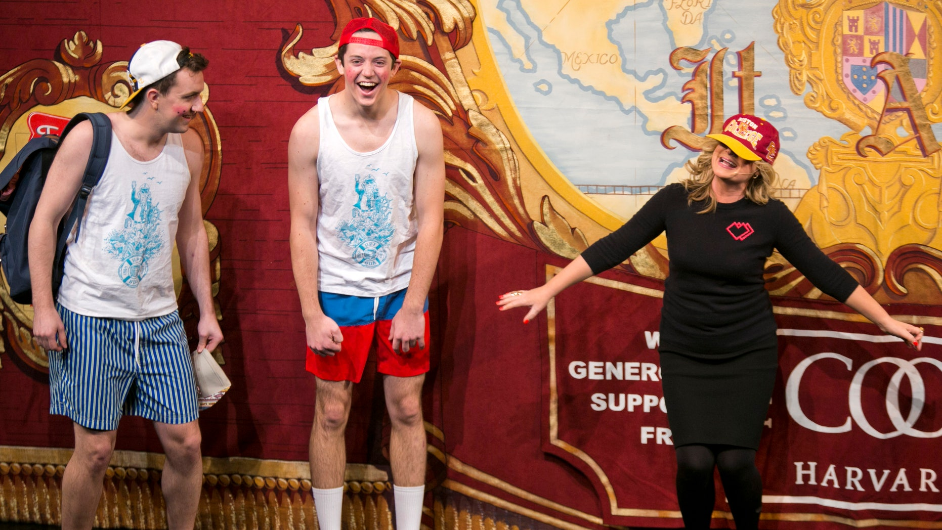 """Actress and comedian Amy Poehler raps freestyle with characters from her film """"Wet Hot American Summer"""" as she is honored with a roast as Hasty Pudding Theatricals Woman of the Year at Harvard University in Cambridge, Massachusetts January 29, 2015. REUTERS"""