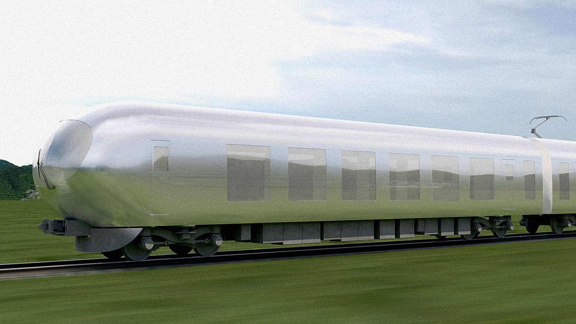 The futuristic train is covered in a reflective metal.
