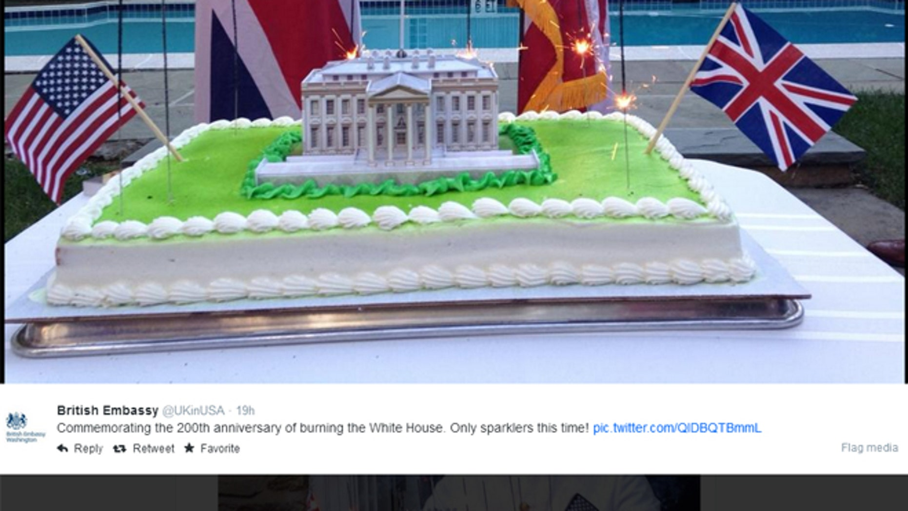 The British Embassy apologized for tweeting the image above.