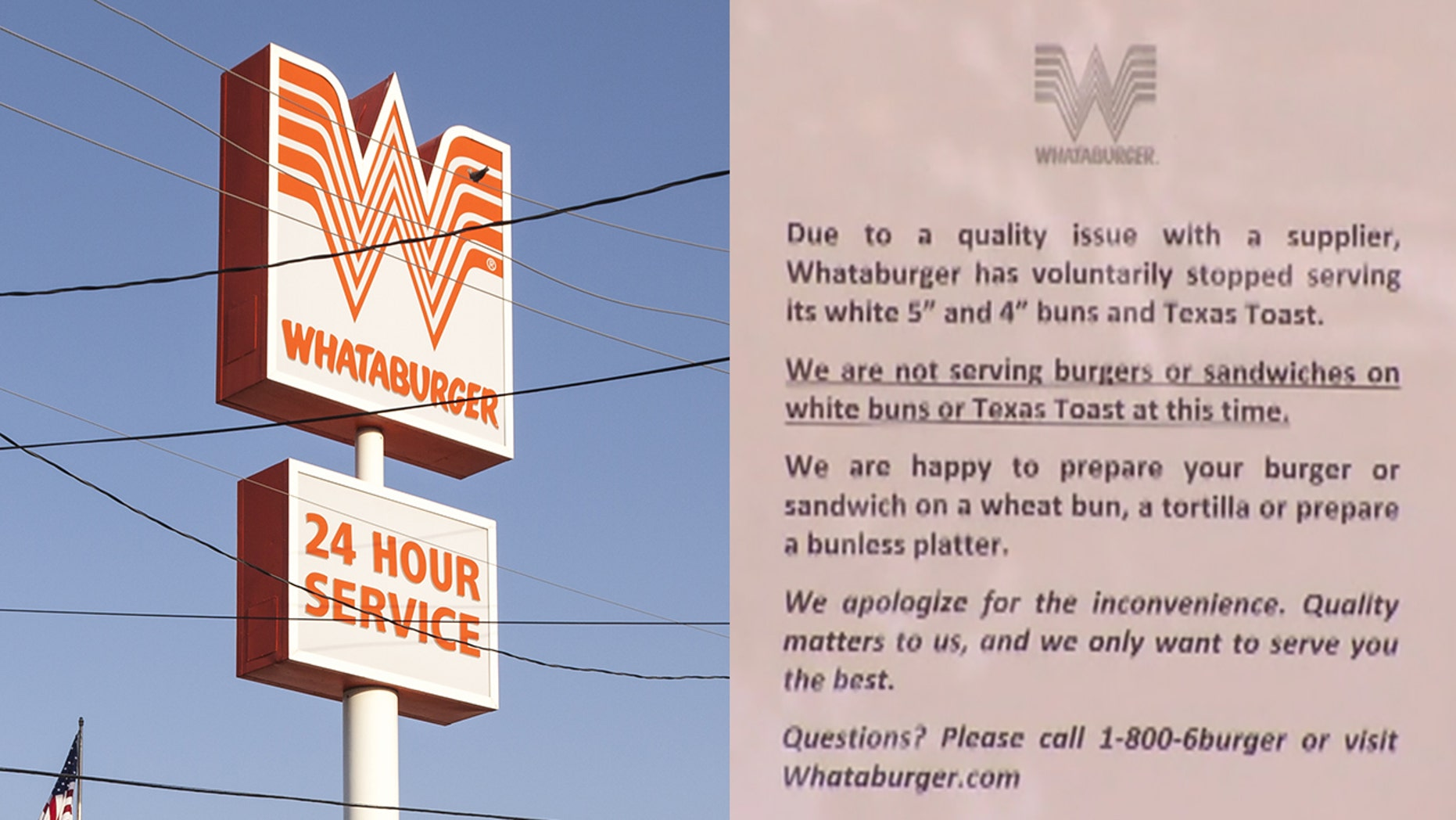 Whataburger and Raising Cane's fell victim to the same problem as In-N-Out, although the two restaurant chains did remain open.