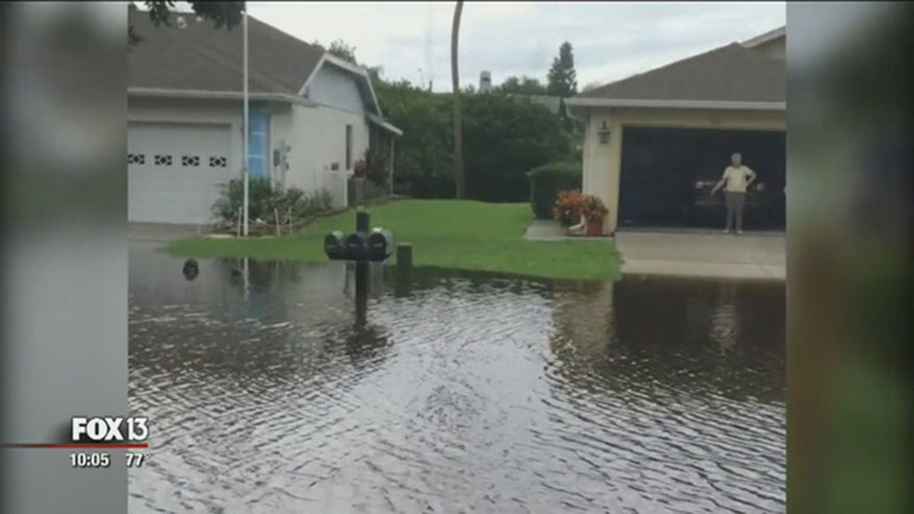 Floodwaters in Bradenton, Florida nearby where a 61-year-old man was found dead.