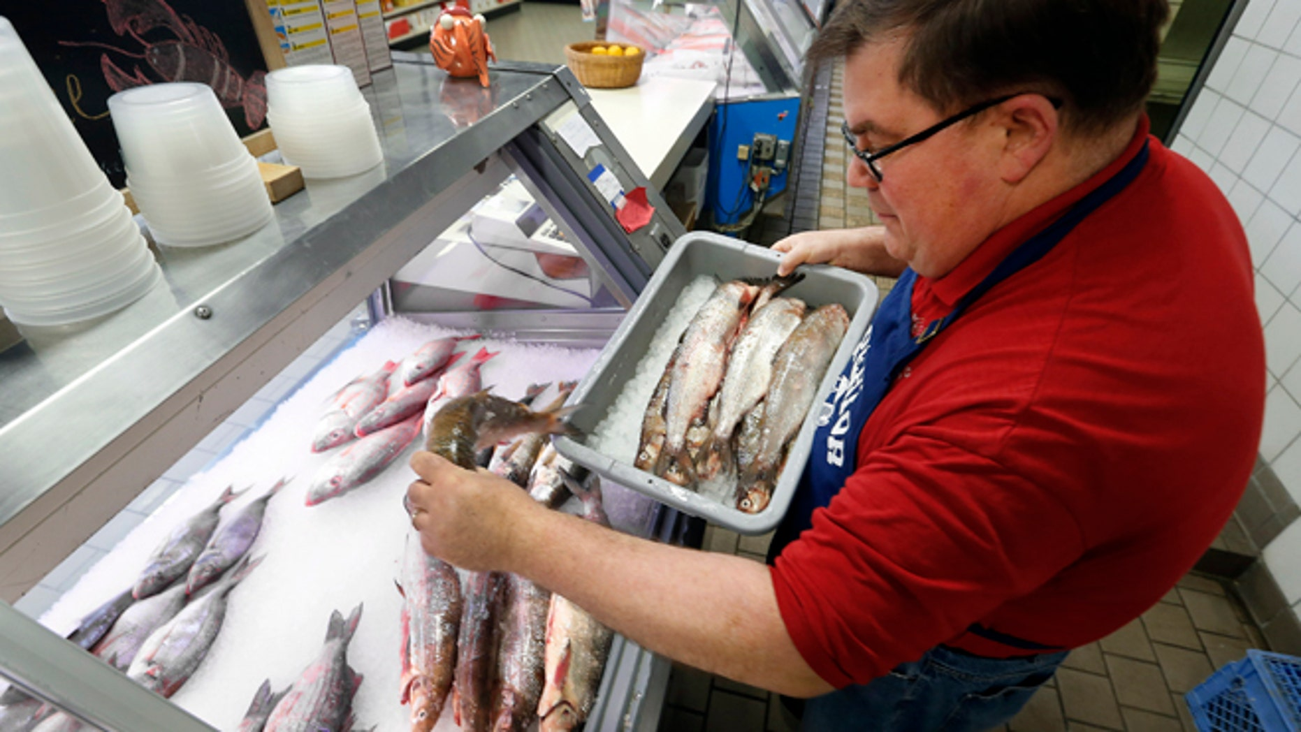 April 14, 2014: Kevin Dean, co-owner of Superior Fish Company, puts Whitefish out for sale in Royal Oak, Mich. Many fish markets in the Great Lakes region are running short of whitefish, and its coming at a bad time: Passover. The shortfall is yet another ripple effect of the bitterly cold winter that caused vast sections of the Great Lakes to freeze over. Dean said his latest shipment of Whitefish amounted to just 75 pounds although he requested 500. (AP/Paul Sancya)