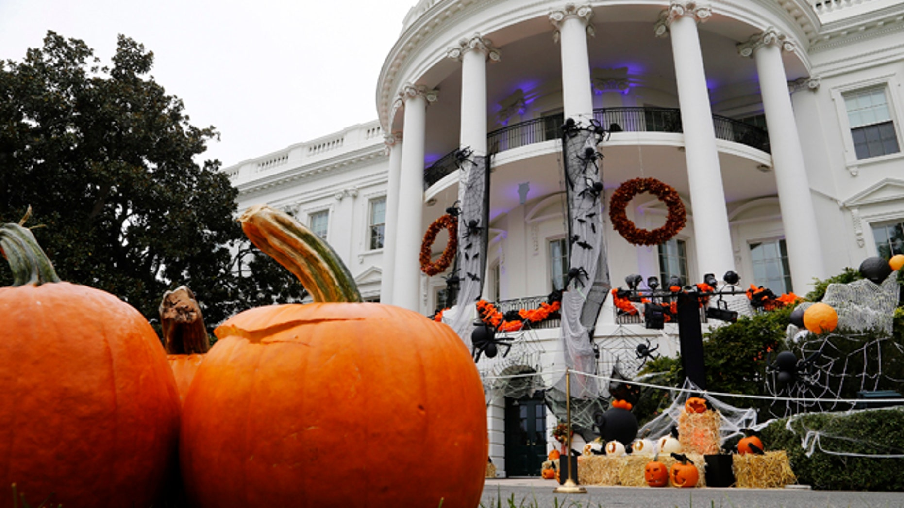 Oct. 31, 2013: Jack-o'-lanterns and other Halloween decorations are displayed ahead of a reception for children on the South Lawn at the White House in Washington.