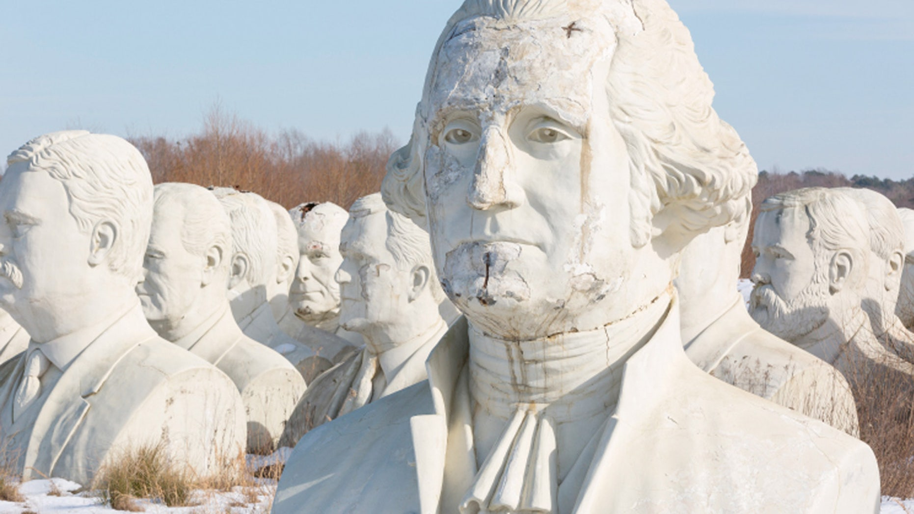 Some 150 miles south of Washington, DC on a patch of farmland in Croaker, Virginia, stands 43 giant heads of United States presidents.