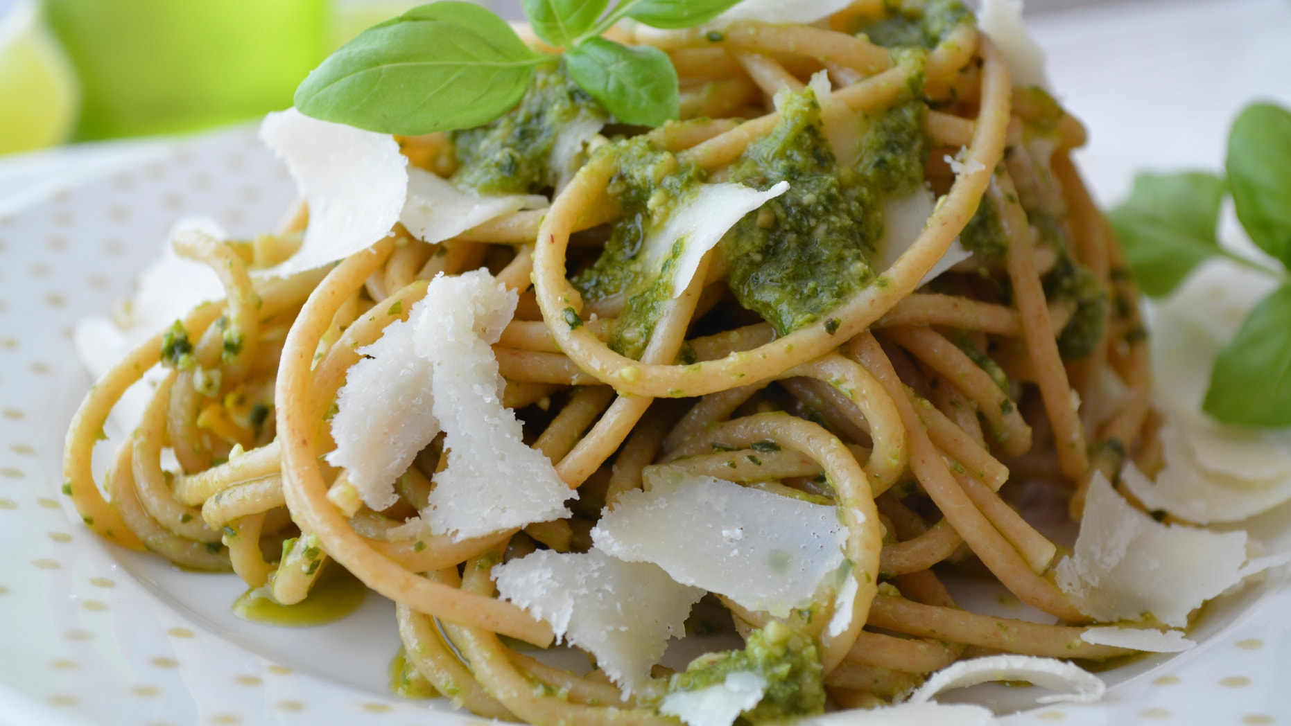 New research suggests a diet rich in fiber— like this whole wheat pasta with pesto— may support a healthy gut, which can in turn reduce disease risk and promote weight loss.