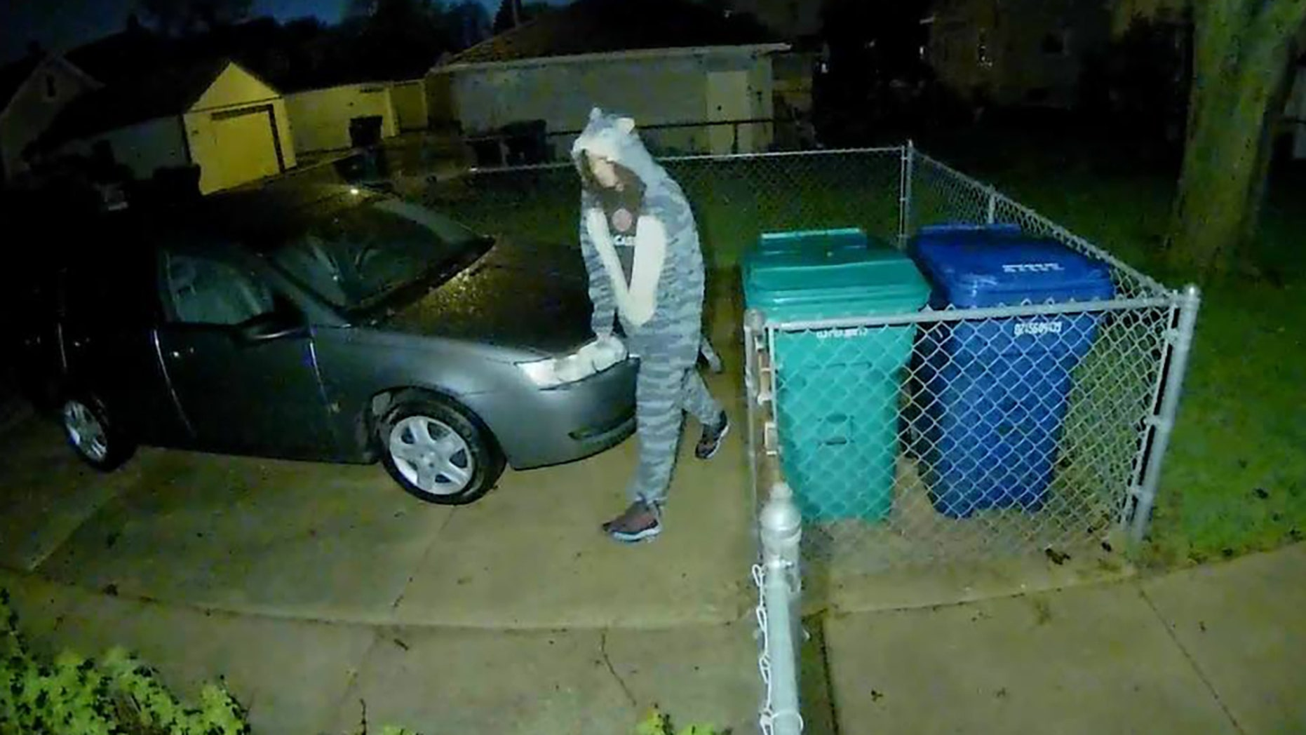 The man in a cat onesie allegedly burglarized cars and garages.