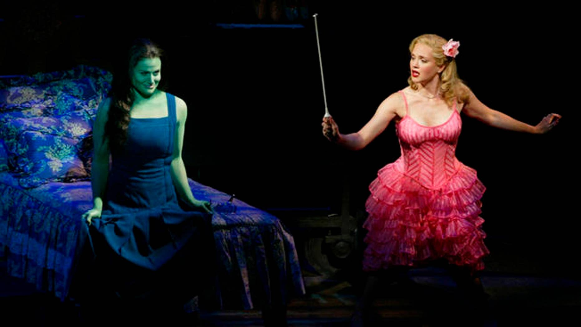 """FILE - In this undated photo released by the producers of """"Wicked,"""" Idina Menzel, left, is joined by Jennifer Laura Thompson, right, in the """"Wizard of Oz"""" prequel."""