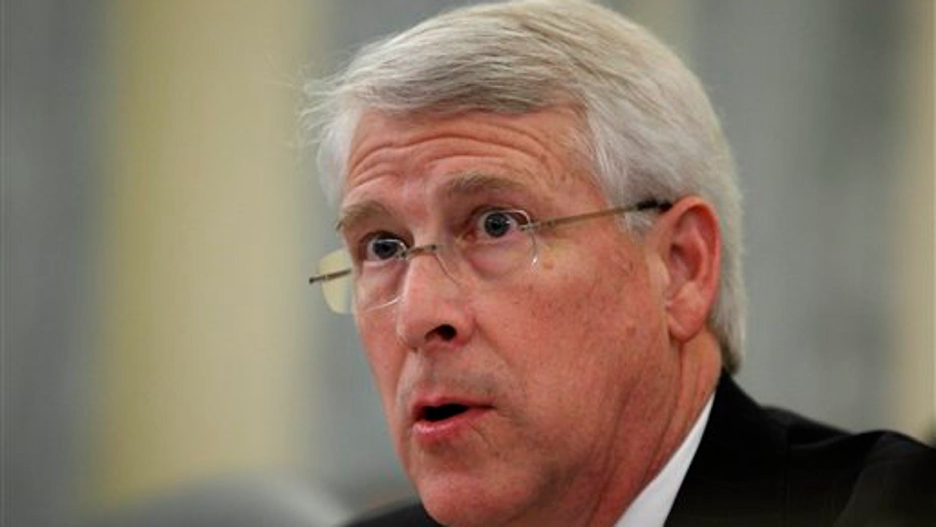 Senate Commerce Committee member Sen. Roger Wicker, R-Miss., questions witnesses on Capitol Hill in Washington, Tuesday, March 2, 2010, during the committee's hearing on Toyota. (AP Photo/Manuel Balce Ceneta)