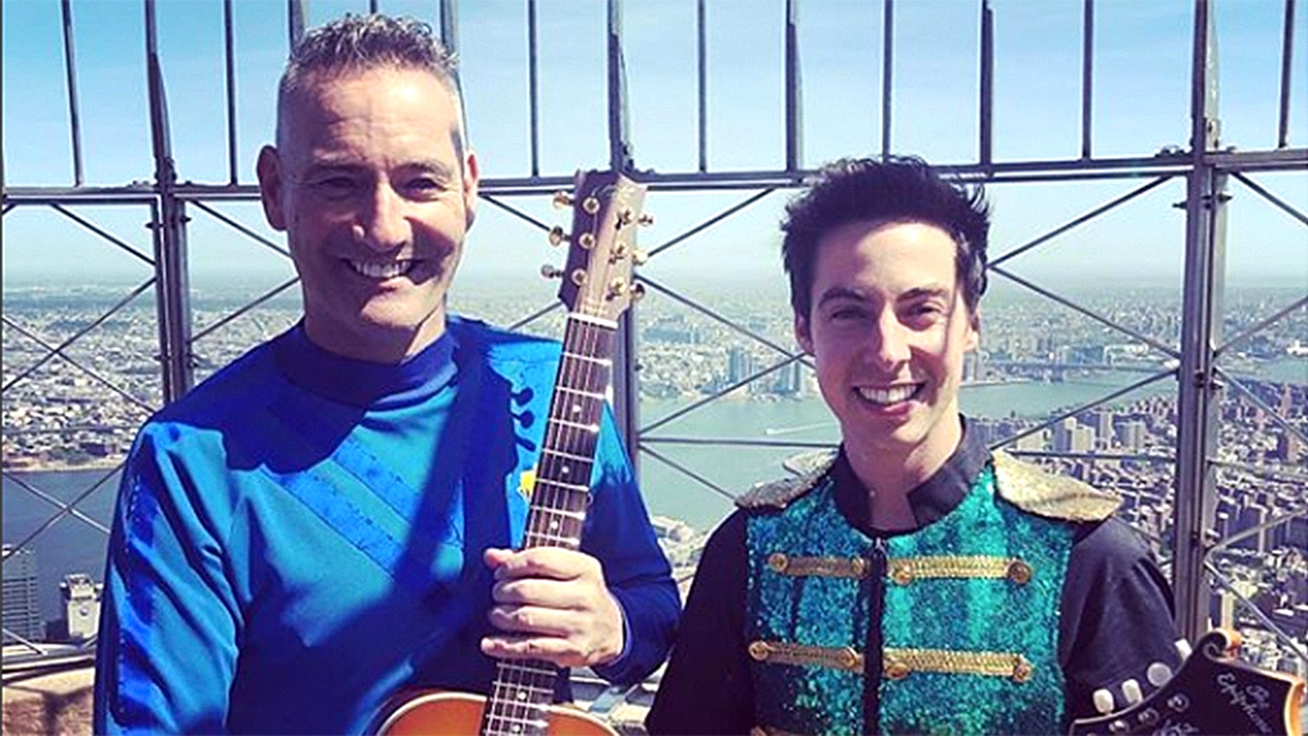 Anthony Field (left), founding member of The Wiggles, injured himself after colliding with a revolving door.