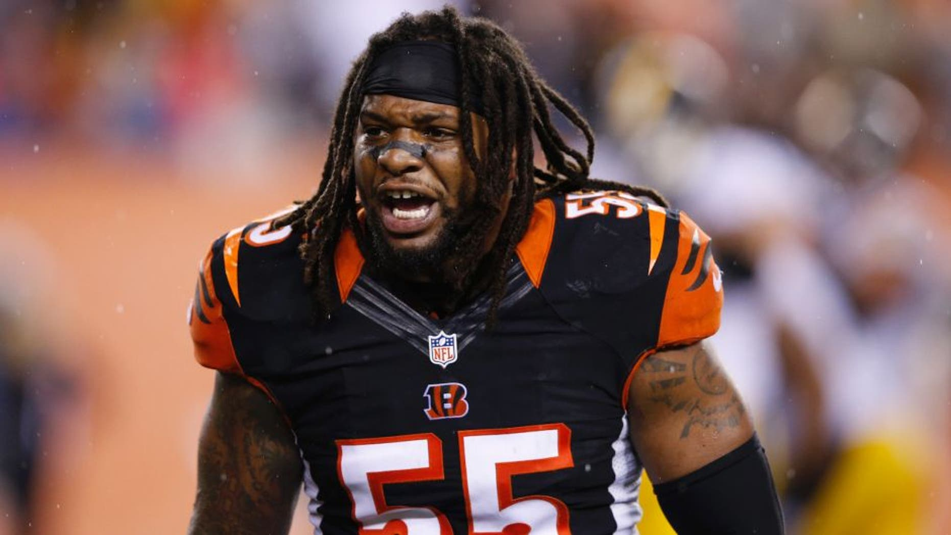 CINCINNATI, OH - JANUARY 9: Vontaze Burfict #55 of the Cincinnati Bengals argues in the second half of the AFC Wild Card Playoff game against the Pittsburgh Steelers at Paul Brown Stadium on January 9, 2016 in Cincinnati, Ohio. The Steelers defeated the Bengals 18-16. (Photo by Joe Robbins/Getty Images)