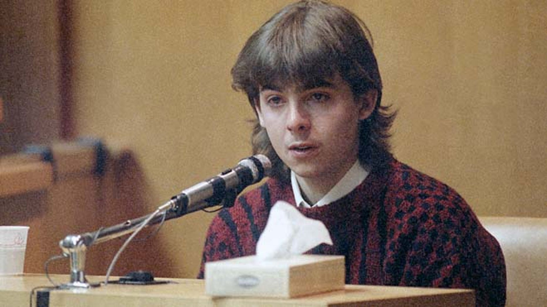 In this March 13, 1991 file photo, William Flynn, testifies on his 17th birthday how he shot Gregory Smart in the head and killed him, in court in Exeter, N.H.