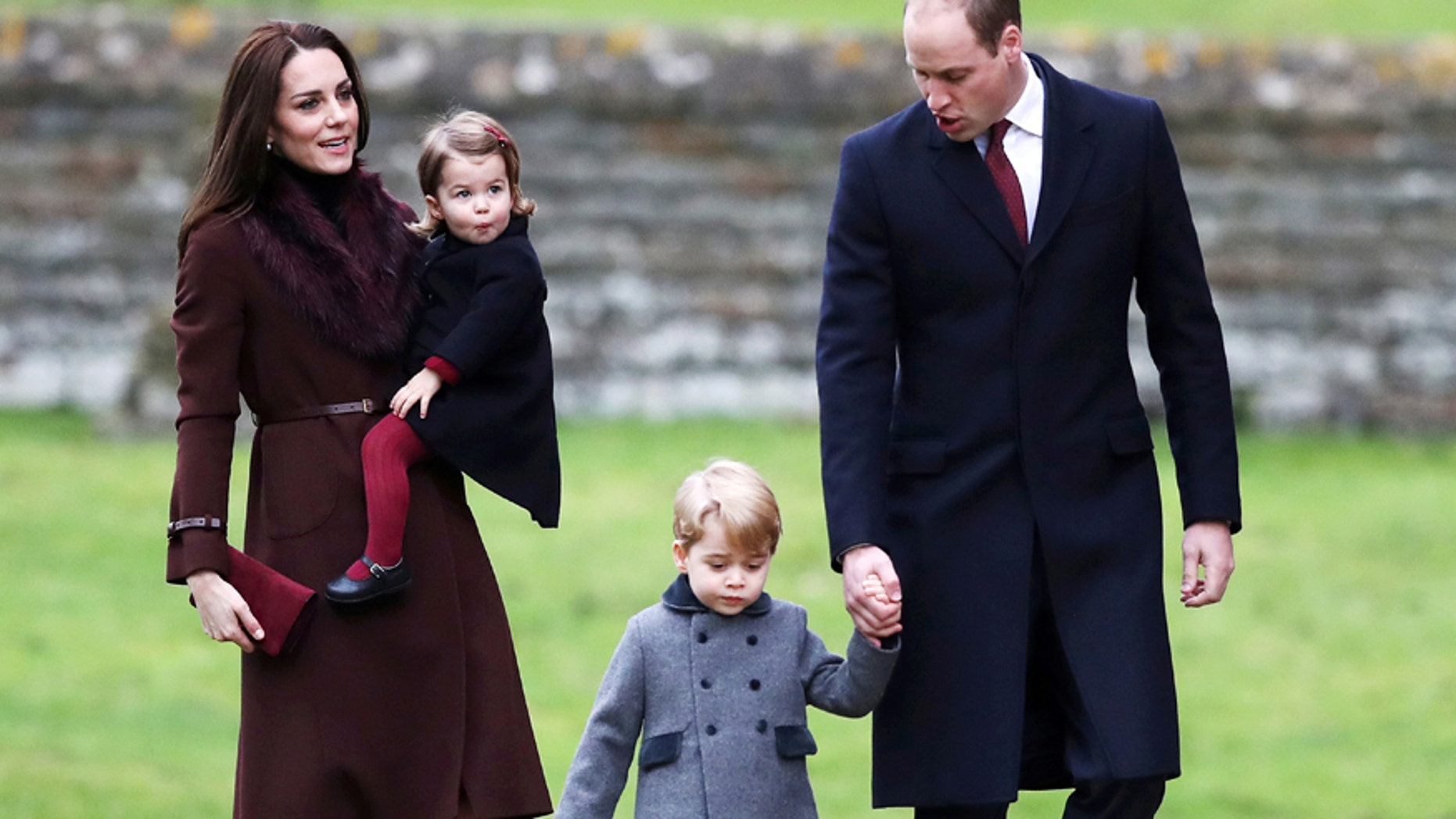 Prince William, the Duke of Cambridge (R), his wife Catherine, The Duchess of Cambridge (L), Prince George (2nd R) and Princess Charlotte arrive to attend the morning Christmas Day service at St Mark's Church in Englefield, near Bucklebury in southern England, Britain, December 25, 2016.