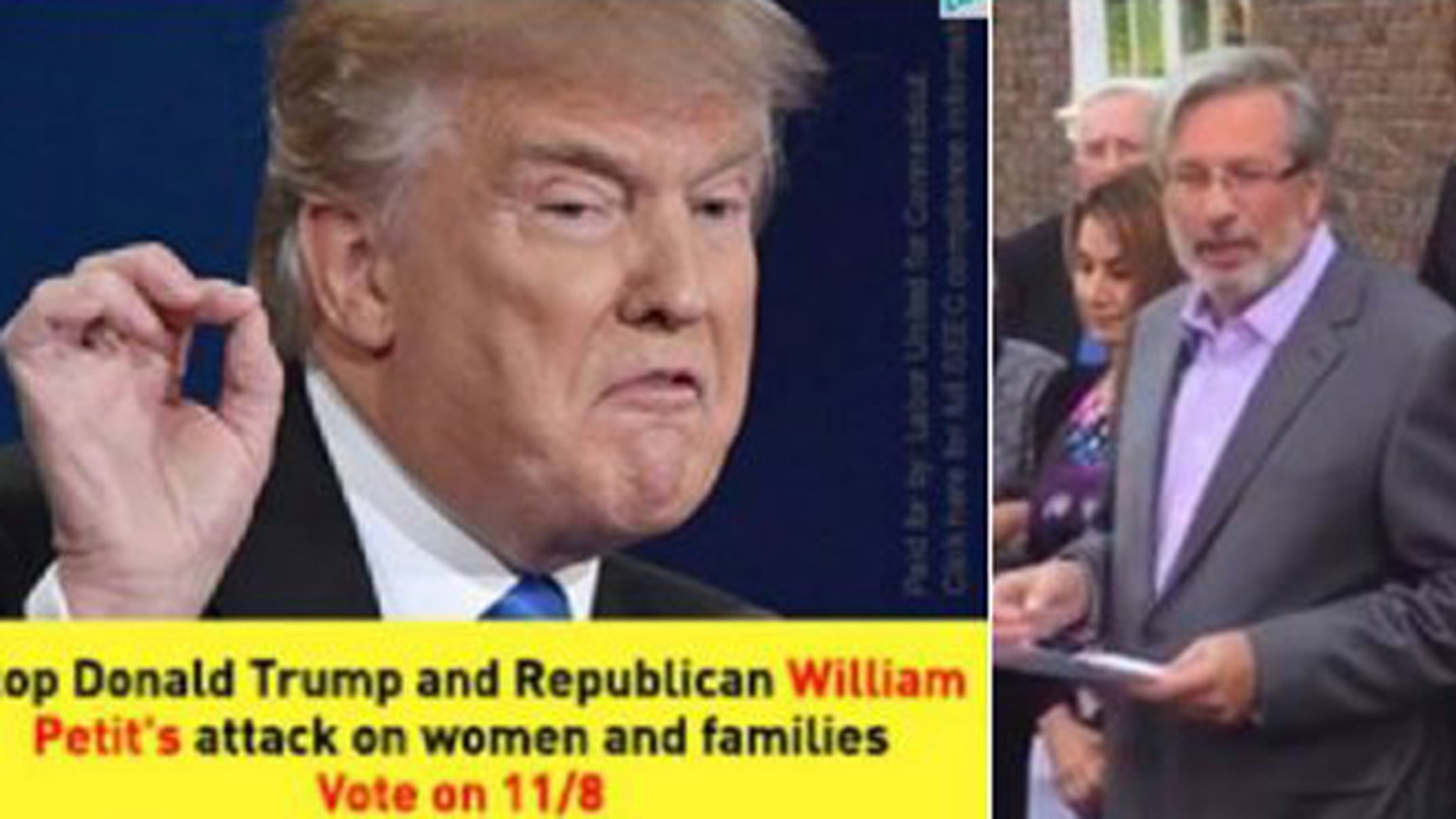 "Dr. William Petit (r) denounced a political attack ad linking him to Donald Trump and an ""attack on women and families."" (Fox 61)"