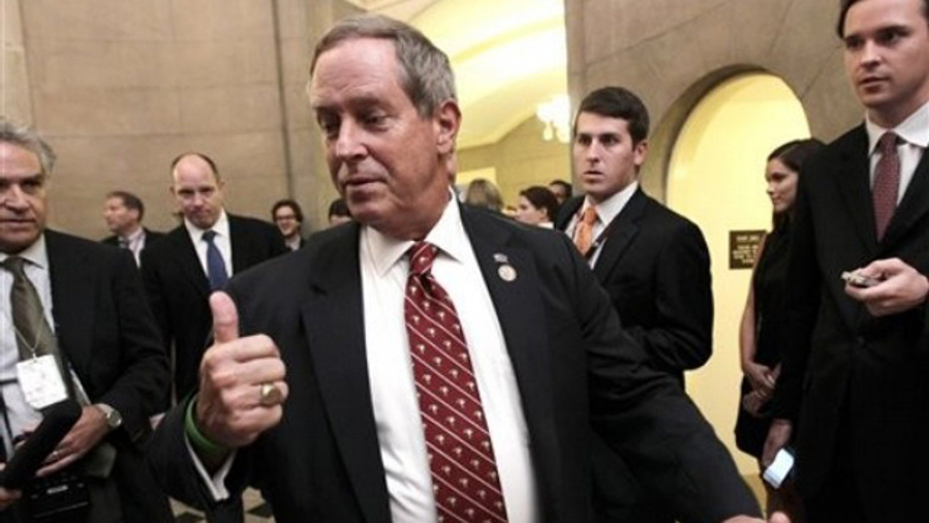 Rep. Joe Wilson arrives at the Capitol office of House Speaker John Boehner in Washington July 28.