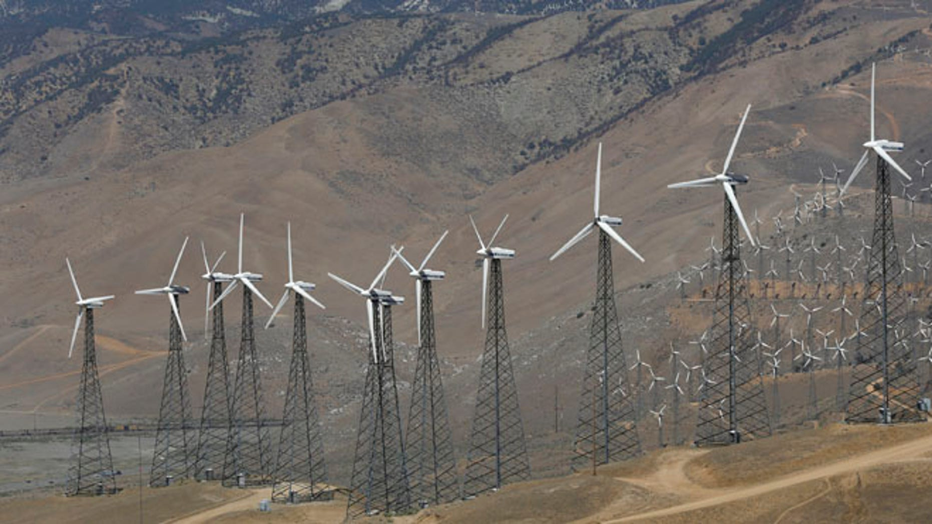 FILE: A wind farm, part of the Tehachapi Pass Wind Farm, is pictured in Tehachapi, California.