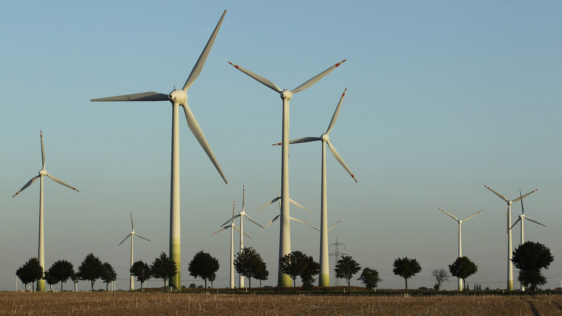 ROEDGEN, GERMANY - AUGUST 20:  Wind turbines spin to produce electricity on August 20, 2010 in Roedgen near Bitterfeld, Germany. Germany is investing heavily in renewable energy production, including wind power and solar, and is seeking to produce 30% of its electricity nationwide with renewables by 2020.  (Photo by Andreas Rentz/Getty Images)