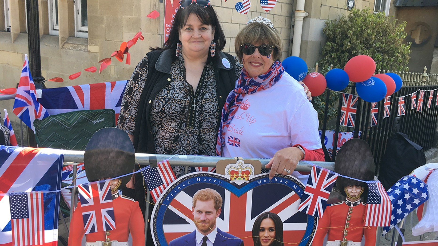 Faith Nicholson, left, at Donna Werner met and Prince William and Kate Middleton's wedding in 2011 and have reunited to camp out on the streets ahead of Prince Harry's wedding to Meghan Markle on Saturday.