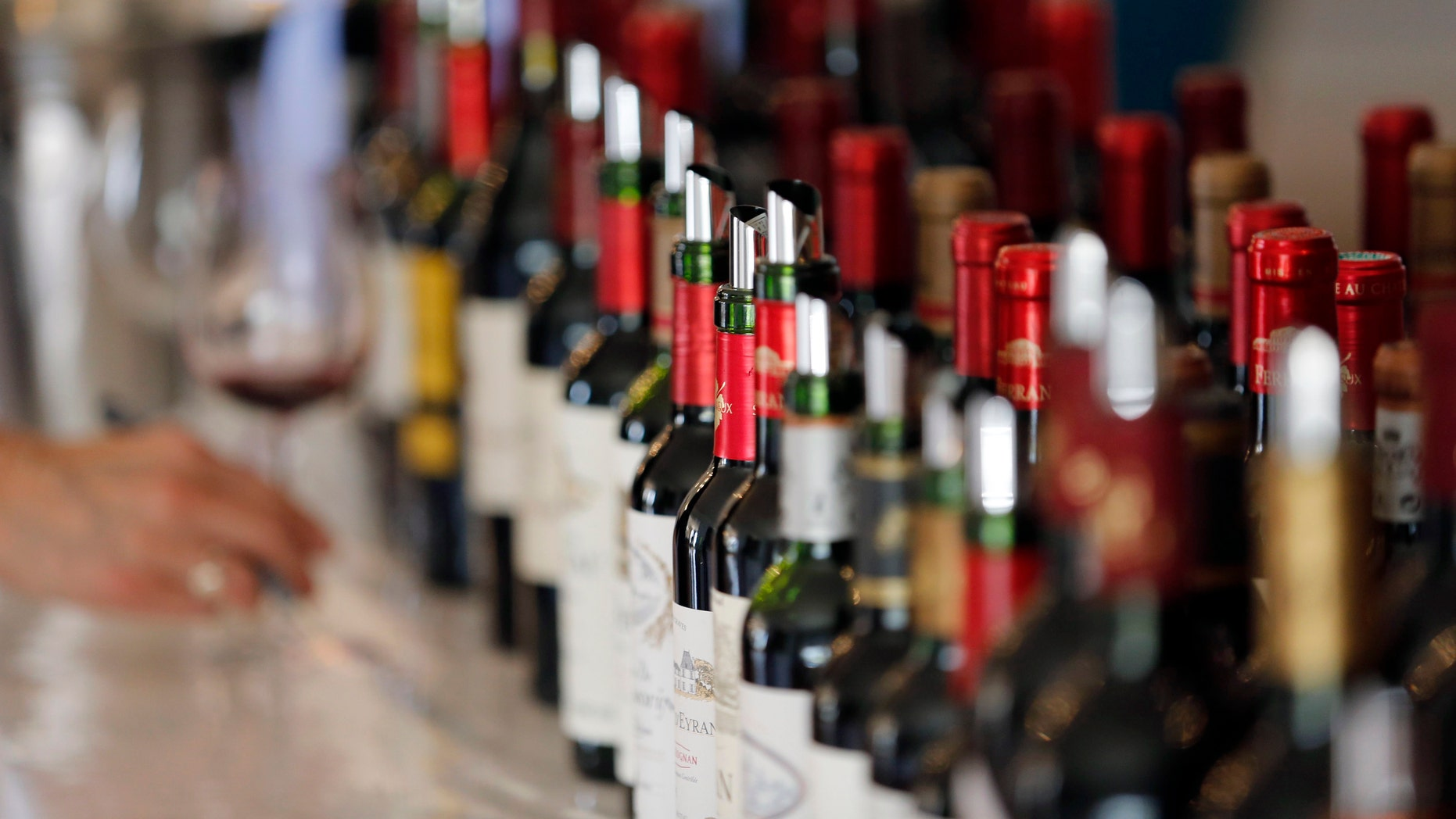 File photo - Bottles of French wine are displayed at the Chateau Bouscaut in Cadaujac, southwestern France, during the start of a week of wine tasting at the chateaux in the Bordeaux region April 4, 2016. (REUTERS/Regis Duvignau)