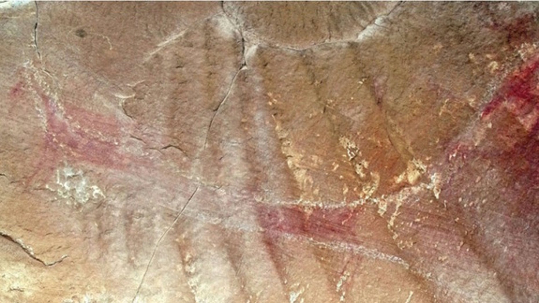 """A close-up view of the other """"wing."""" Notice the white chalk lines that were added in the 1940s, and may have been re-chalked since then. Researchers originally used chalk to help visualize the rock art, but the practice is now illegal."""