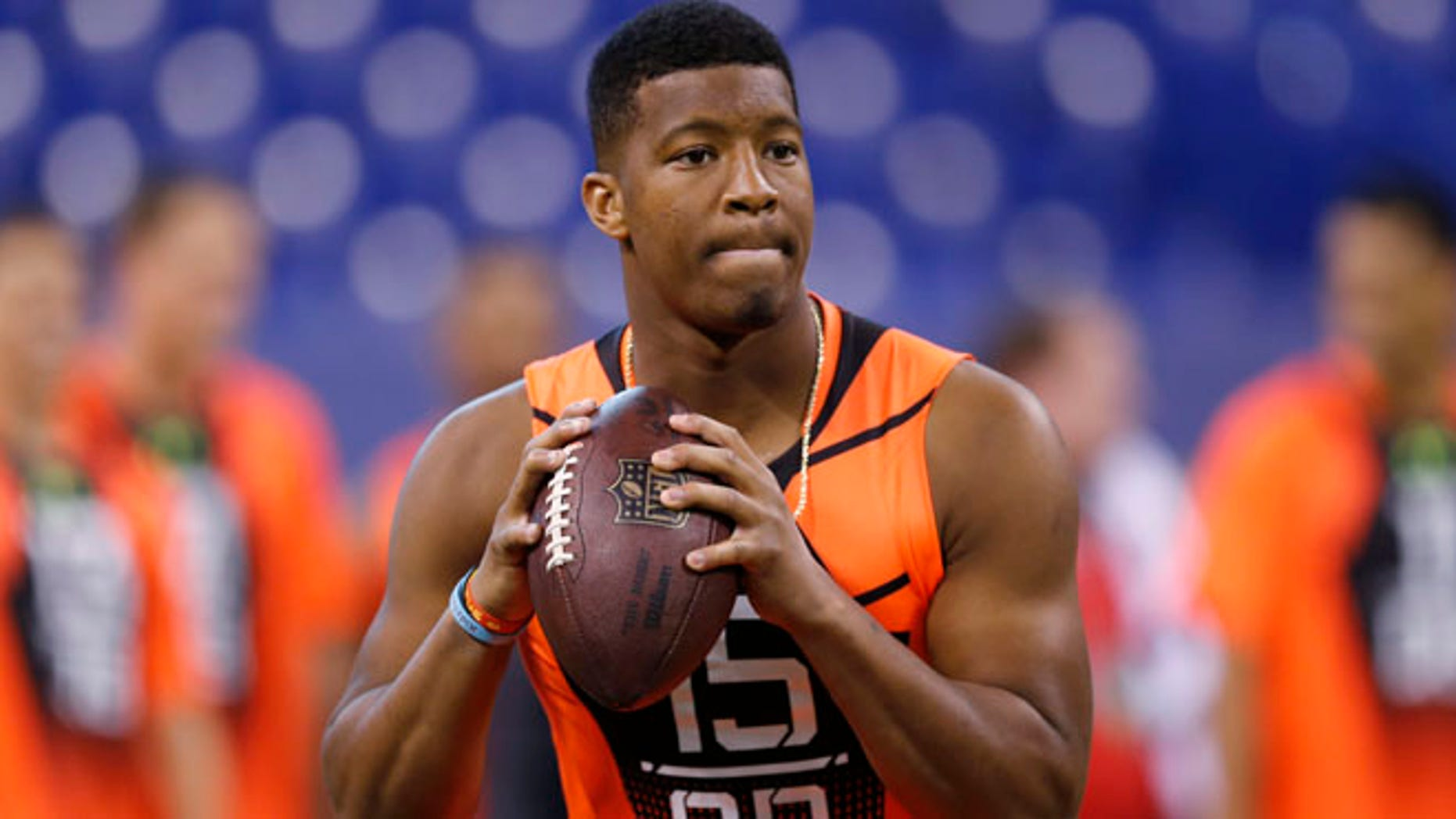 Feb. 21, 2015:  Florida State quarterback Jameis Winston runs a drill at the NFL football scouting combine in Indianapolis. (AP)