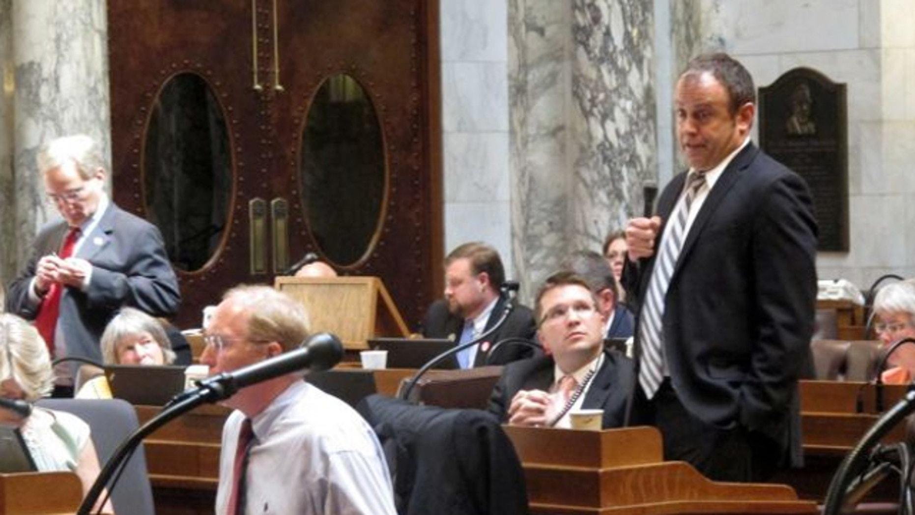 June 13, 2013: Democratic state Rep. Gordon Hintz, of Oshkosh, speaks during debate in the state Assembly in Madison, Wis.