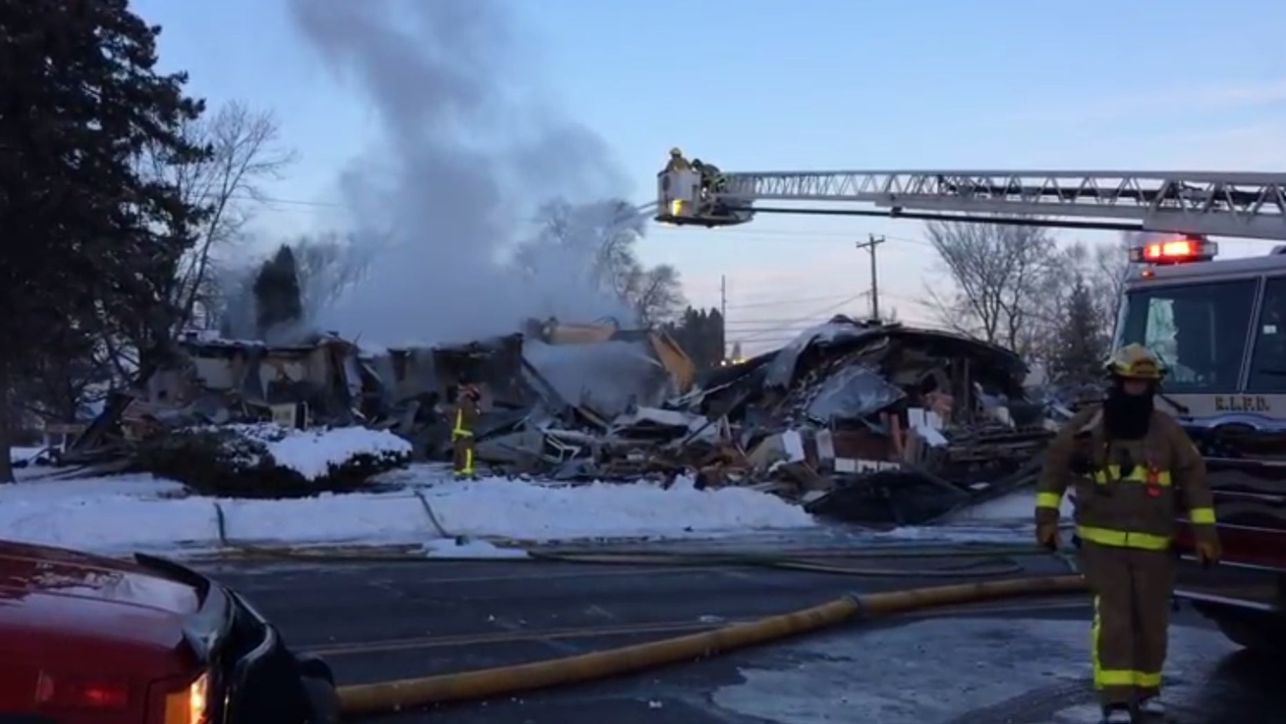 The explosion leveled the apartment building in northwestern Wisconsin.