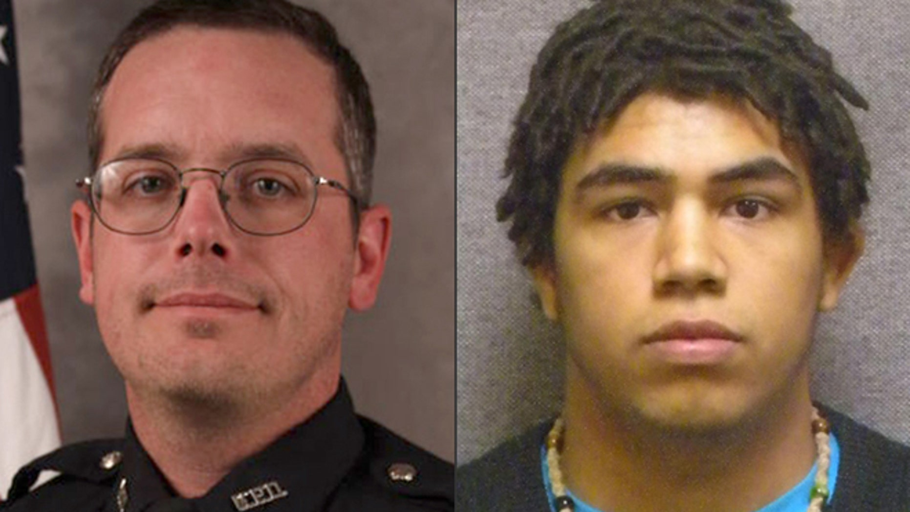 These file photos provided by the Madison, Wis. police department and Wisconsin Department of Corrections show Officer Matt Kenny, left, and shooting victim Tony Robinson.
