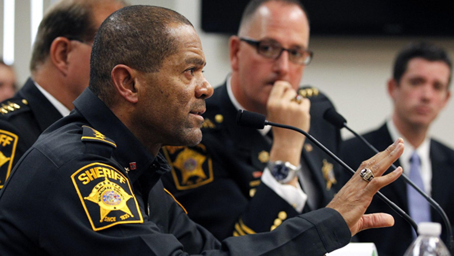 Oct. 11, 2012: Milwaukee County Sheriff David Clarke talks during a budget hearing in Milwaukee, Wis.