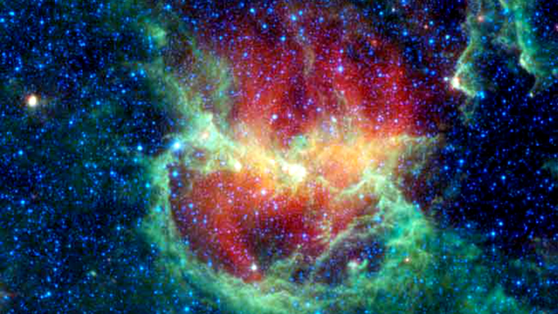 NASA's WISE telescope took this infrared image of a star-forming cloud called the Lambda Centauri Nebula, also known as the Running Chicken Nebula. The nebula is about 5,800 light-years from Earth, and it's home to a new cluster of stars born nearly 8 million years ago.