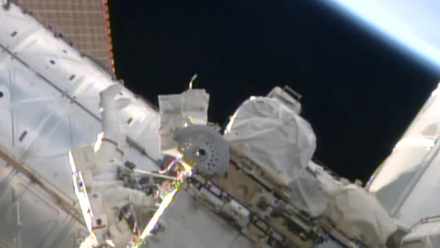 NASA astronaut Reid Wiseman works outside the International Space Station on Oct. 7, 2014.