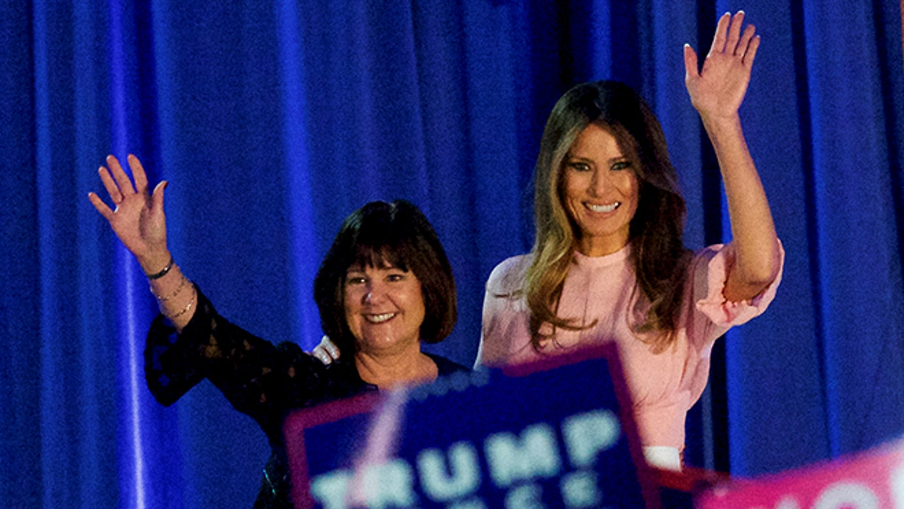 Melania Trump and Karen Pence on the campaign trail on Nov. 3, 2016, in Pennsylvania, days before the election. (Reuters)