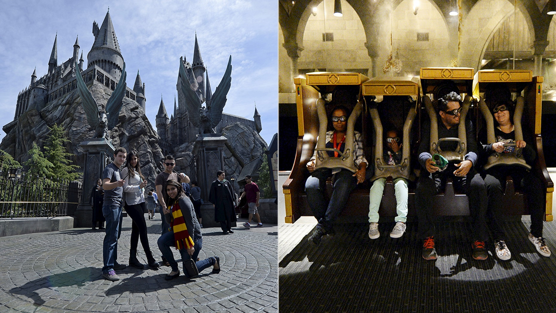 """Tristram Buckley says the benches in the Forbidden Journey ride gave him """"shaken adult syndrome."""""""