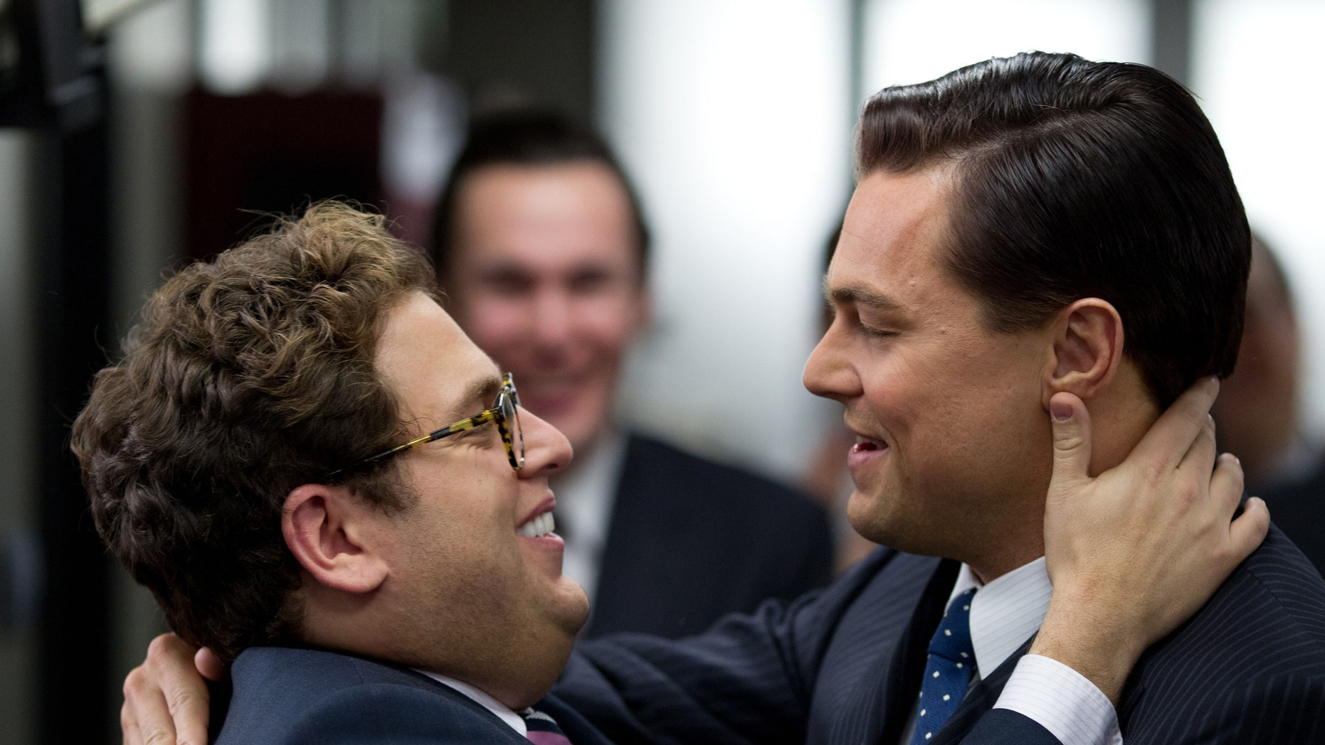 "Jonah Hill, right, appears in the ""Wolf of Wall Street"" with Leonardo DiCaprio."