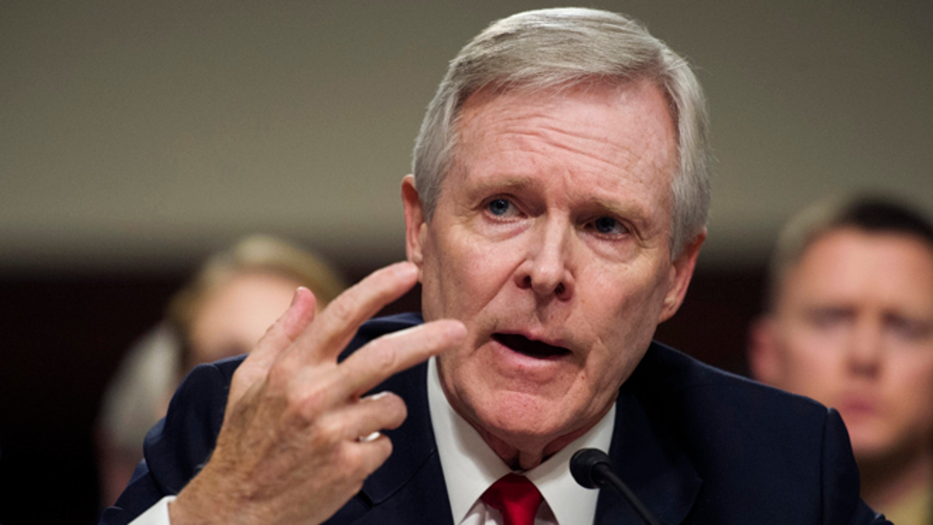 Navy Secretary Ray Mabus Jr. gestures while testifying on Capitol Hill in Washington, Tuesday, Feb. 2, 2016, before the Senate Armed Services Committee hearing to examine the implementation of the decision to open all ground combat units to women.  (AP Photo/Cliff Owen)