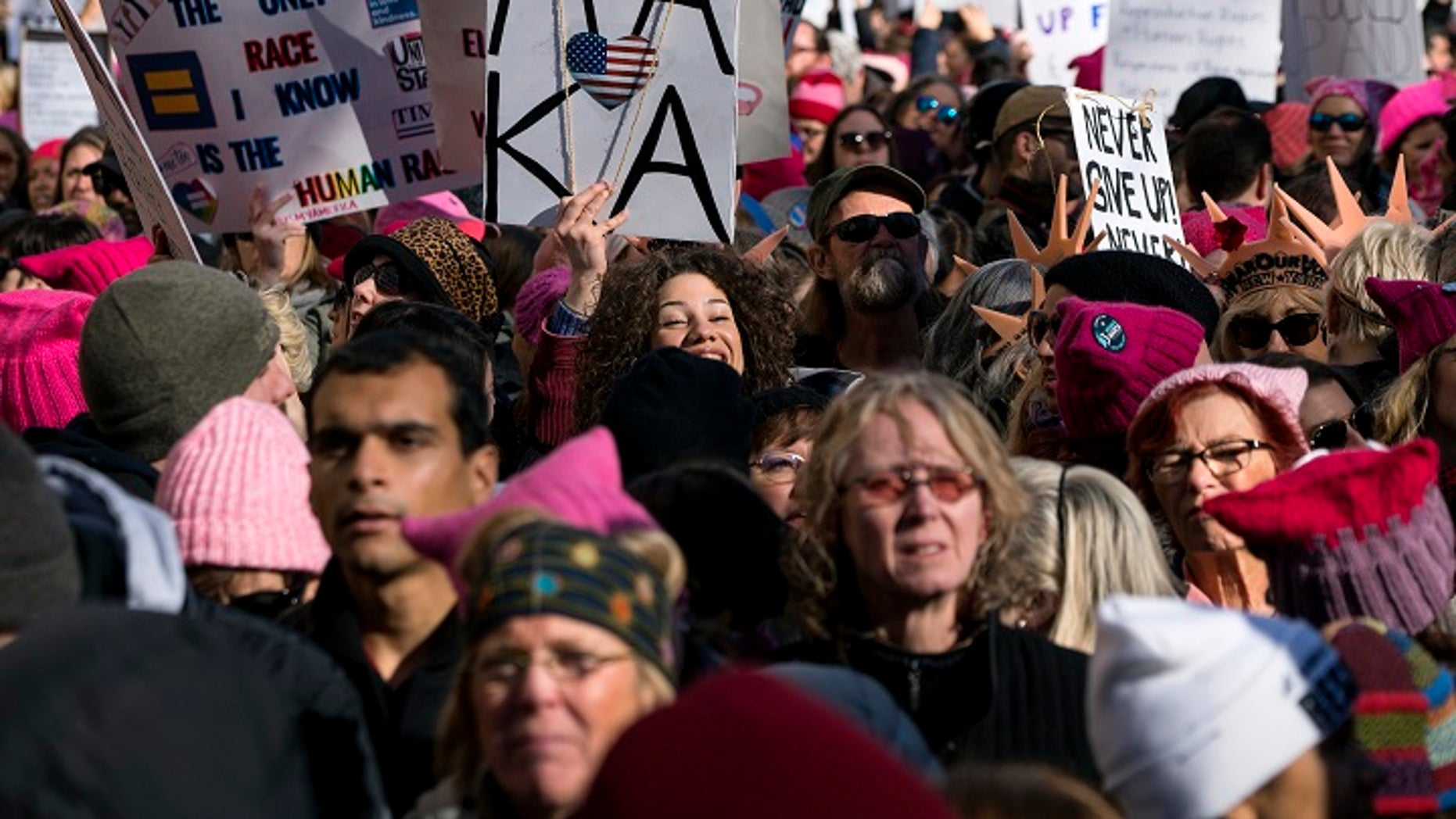 People assembling in New York for the 2018 Women's March on Saturday.