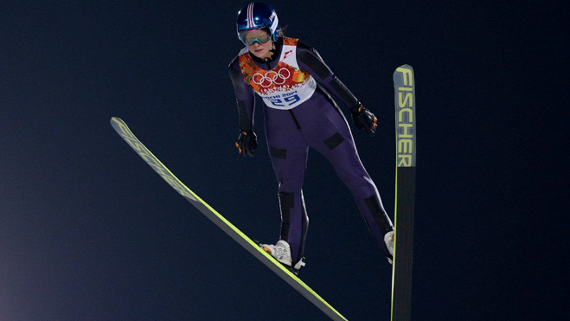 Feb. 11, 2014: Germany's Carina Vogt makes her trial jump in the women's ski jumping normal hill final at the 2014 Winter Olympics in Krasnaya Polyana, Russia.