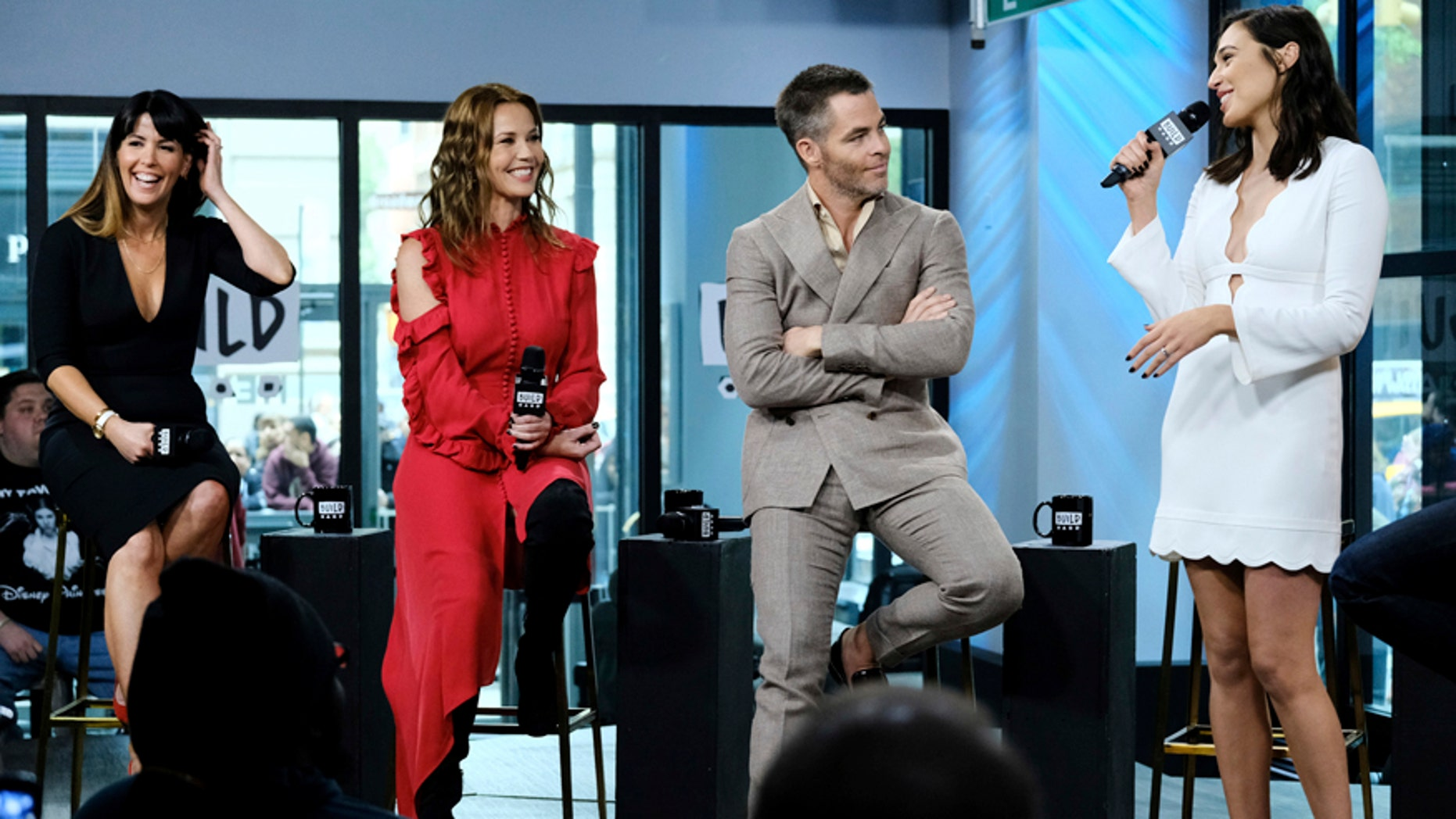 """Director Patty Jenkins, from left, and actors Connie Nielsen, Chris Pine and Gal Gadot participate in the BUILD Speaker Series to discuss the film, """"Wonder Woman"""" at AOL Studios on Tuesday, May 23, 2017, in New York."""