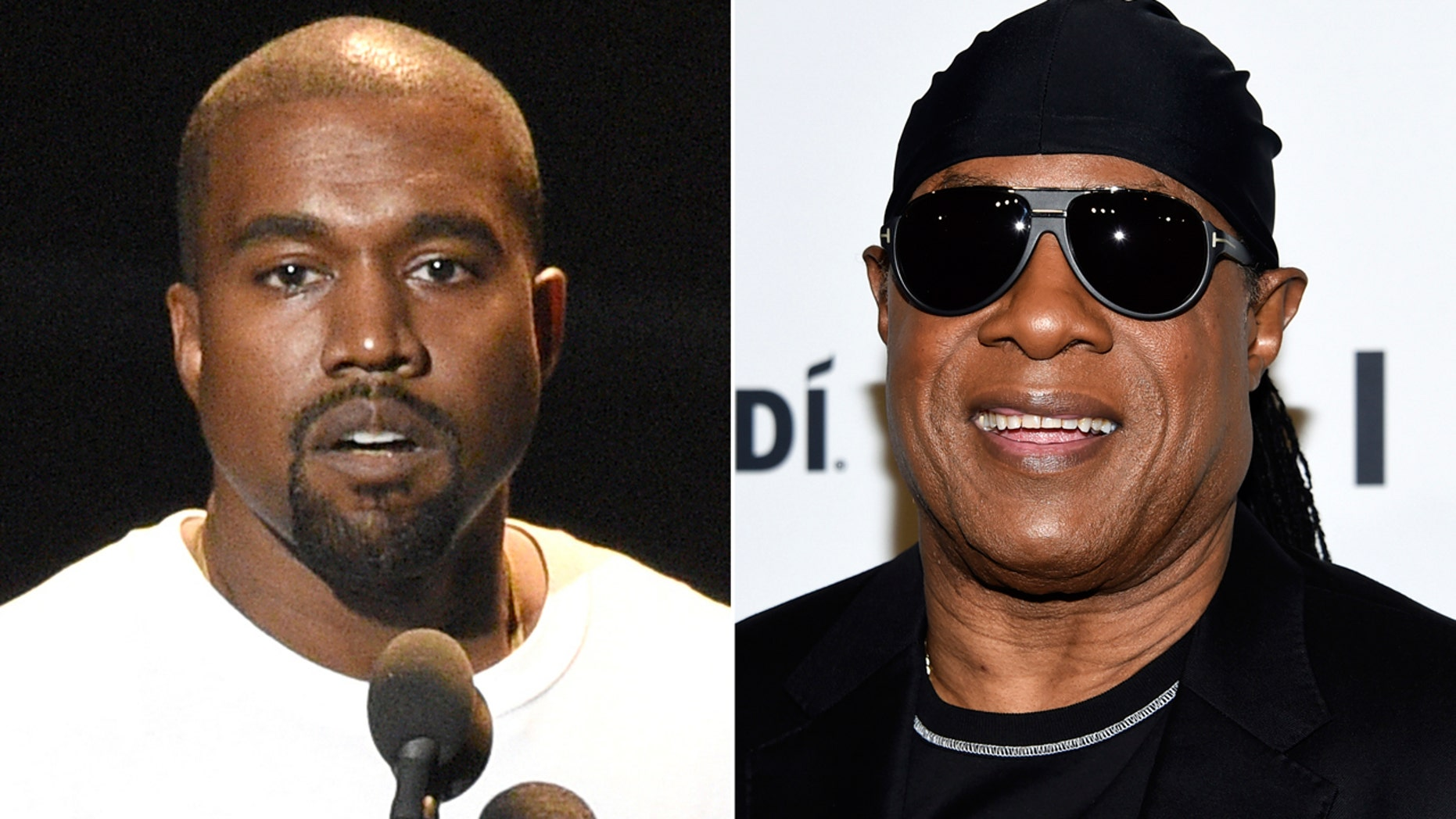 "In this combination photo Kanye West speaks at the MTV Video Music Awards in New York on Aug. 28, 2016, left, and Stevie Wonder attends the TIDAL X: Brooklyn 3rd Annual Benefit Concert in New York on Oct. 17, 2017.  Wonder has called out West for saying slavery is a ""choice,"" calling the idea ""foolishness"" likening it to Holocaust denial. Wonder brought up West without prompting during an interview Thursday, May 10, 2018, after a show at a West Hollywood club. (AP Photo)"
