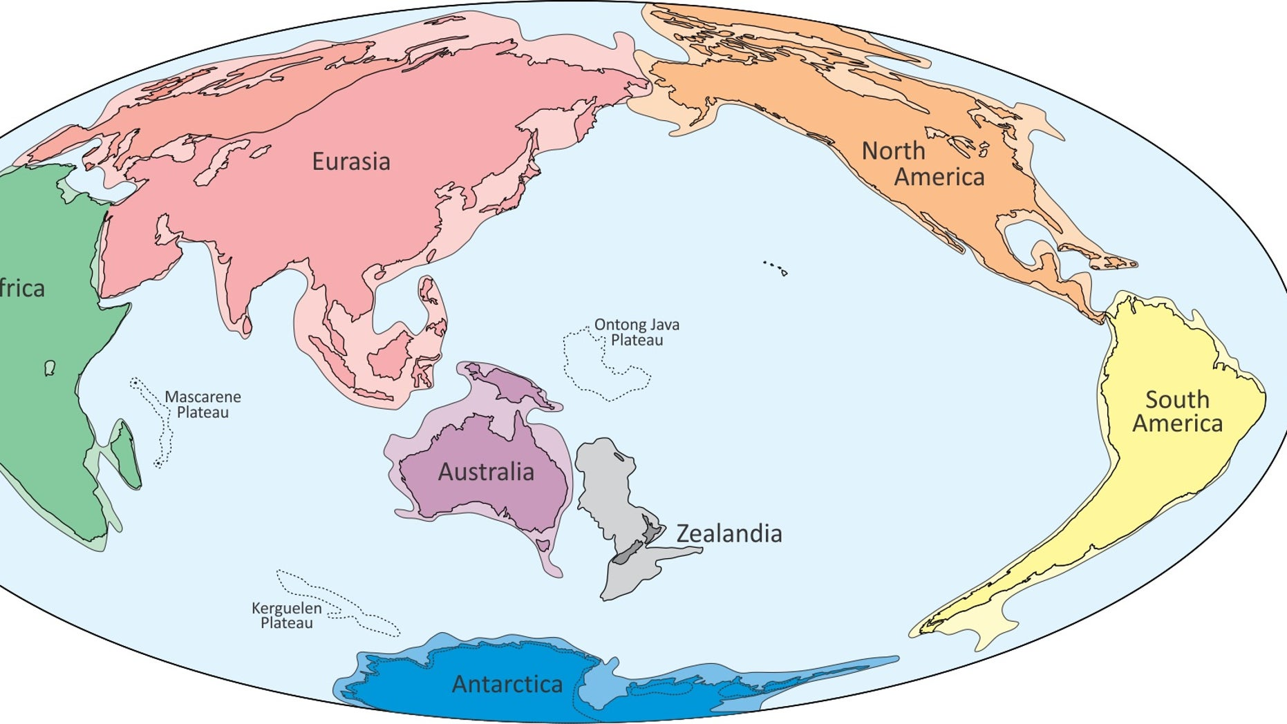 A proposed world map showing the eighth continent Zealandia. Though most of this continent is submerged beneath the ocean, scientists say it has all the geologic hallmarks of a separate continent.