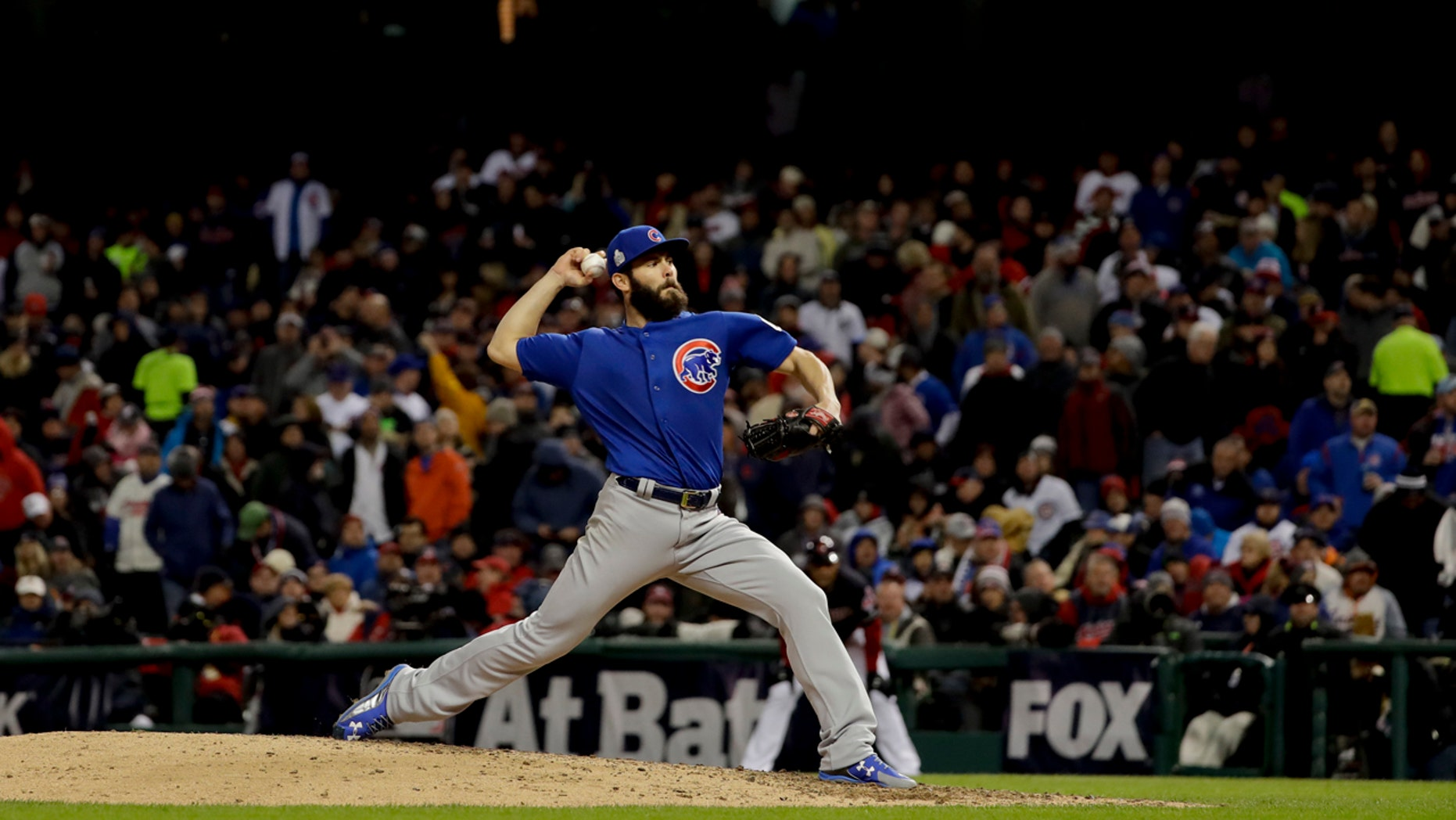 Oct. 26, 2016: Chicago Cubs starting pitcher Jake Arrieta throws against the Cleveland Indians during the sixth inning of Game 2 of the World Series
