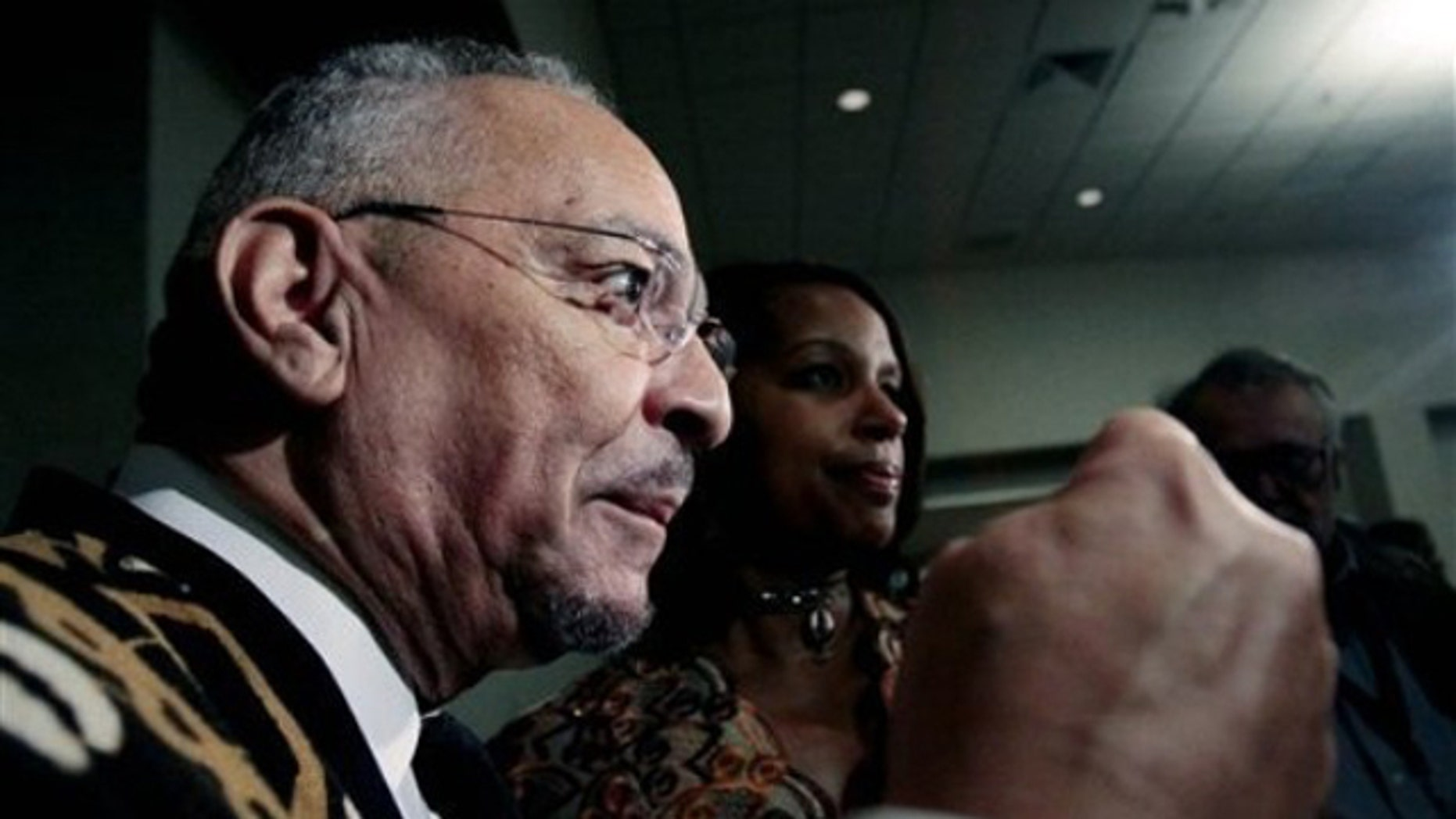 Rev. Jeremiah Wright answers a question before addressing the Veterans of the Mississippi Civil Rights Movement Conference at Jackson State University in Jackson, Miss., March 25. (AP Photo)