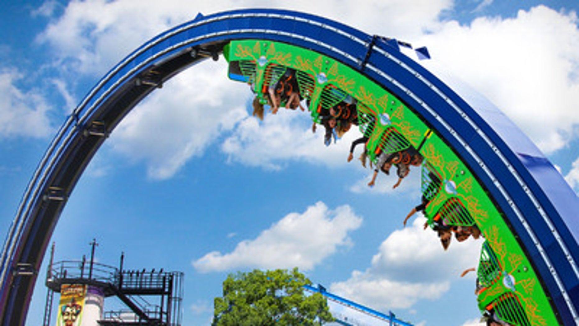 The Joker Chaos coaster, Six Flags Over Georgia.